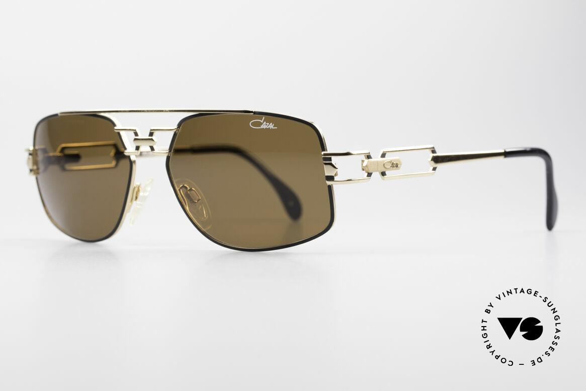 Cazal 972 Echt 90er No Retro Sonnenbrille, enorm hochwertige Rahmenlackierung in schwarz-gold, Passend für Herren und Damen