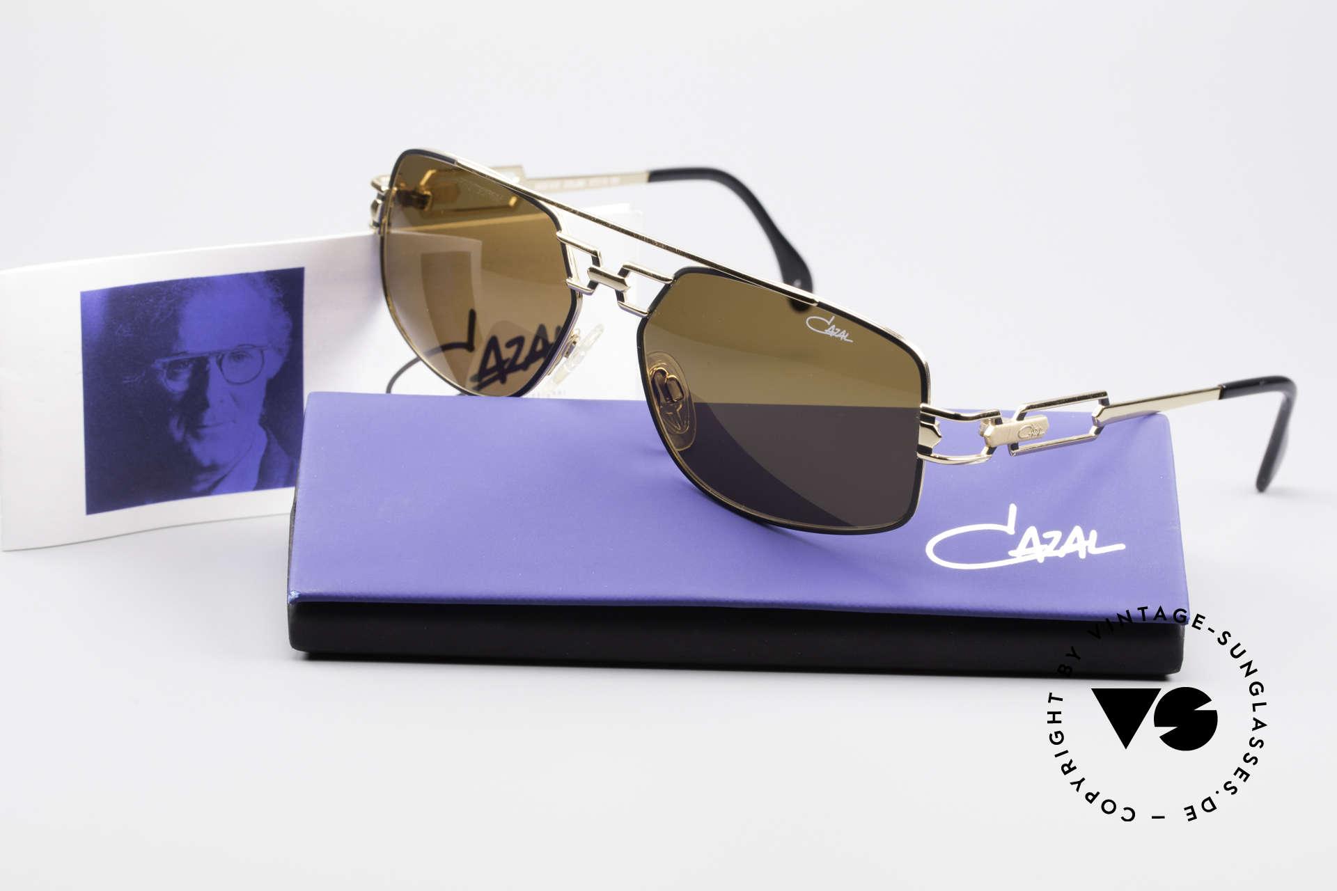 Cazal 972 Echt 90er No Retro Sonnenbrille, braune orig. Cazal Sonnengläser für 100% UV Protection, Passend für Herren und Damen