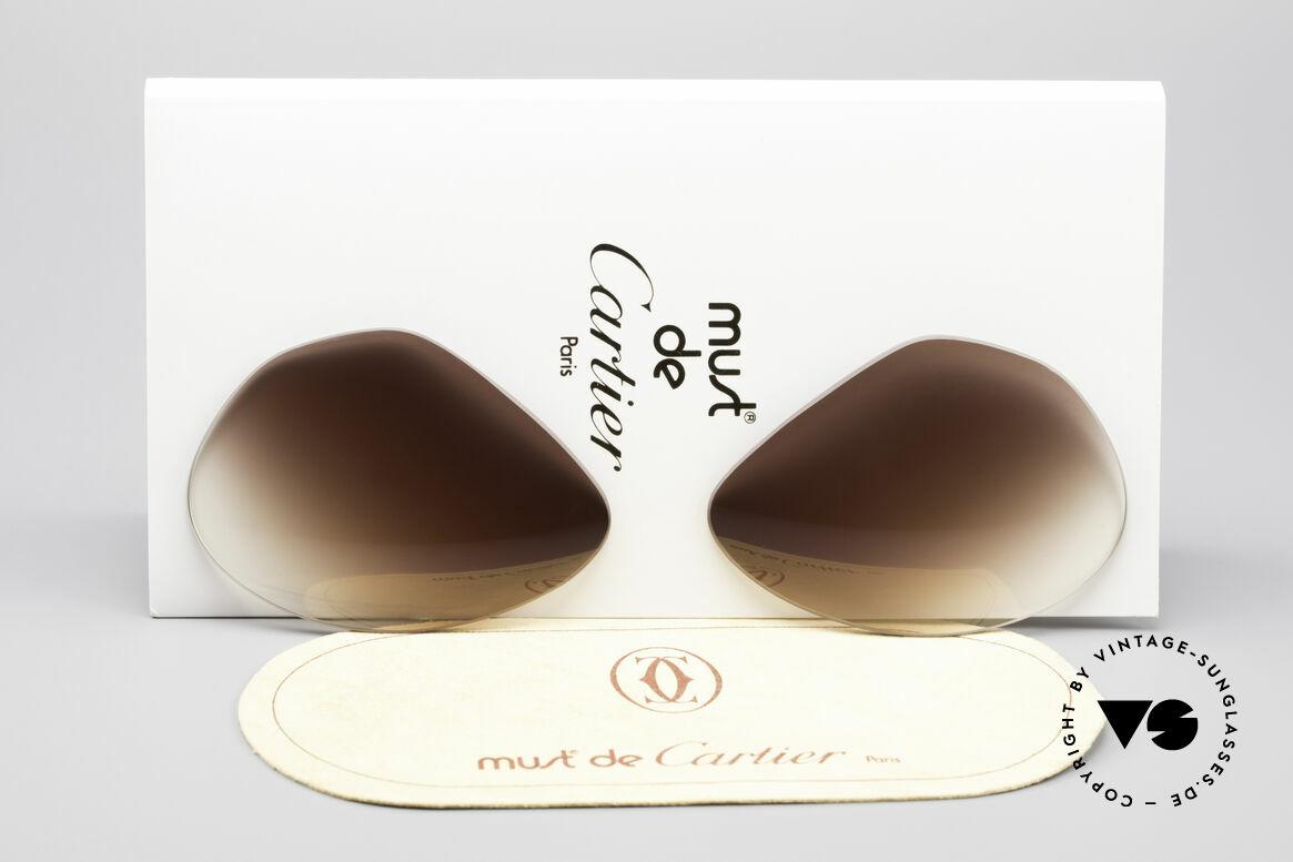 Cartier Vendome Lenses - L Sonnengläser Braun Verlauf, Ersatzgläser für Cartier Modell Vendome LARGE 62mm, Passend für Herren