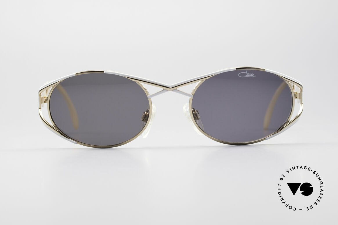Cazal 977 Designer Sonnenbrille Damen, sehr elegante Rahmengestaltung in gold-weiss, Passend für Damen