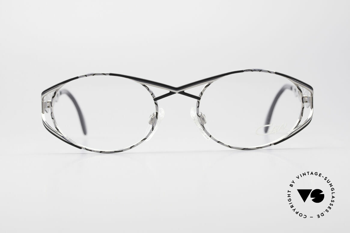 Cazal 977 Vintage Designer Brille Damen, sehr elegante Rahmengestaltung in silber / schwarz, Passend für Damen