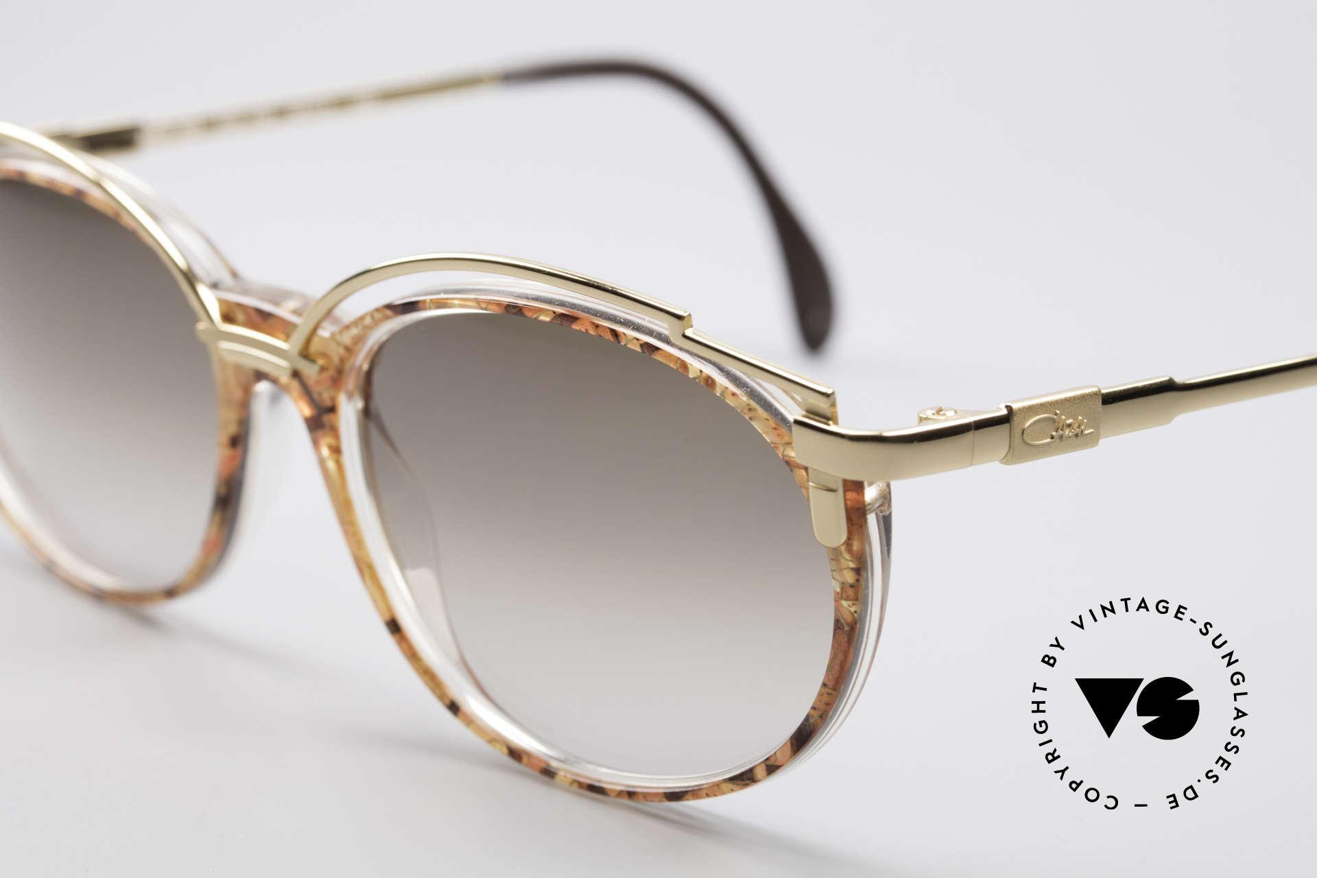 Cazal 358 90er Damen Sonnenbrille Vintage, grandioses Rahmenmuster in 'kupfergold mosaik'/gold, Passend für Damen