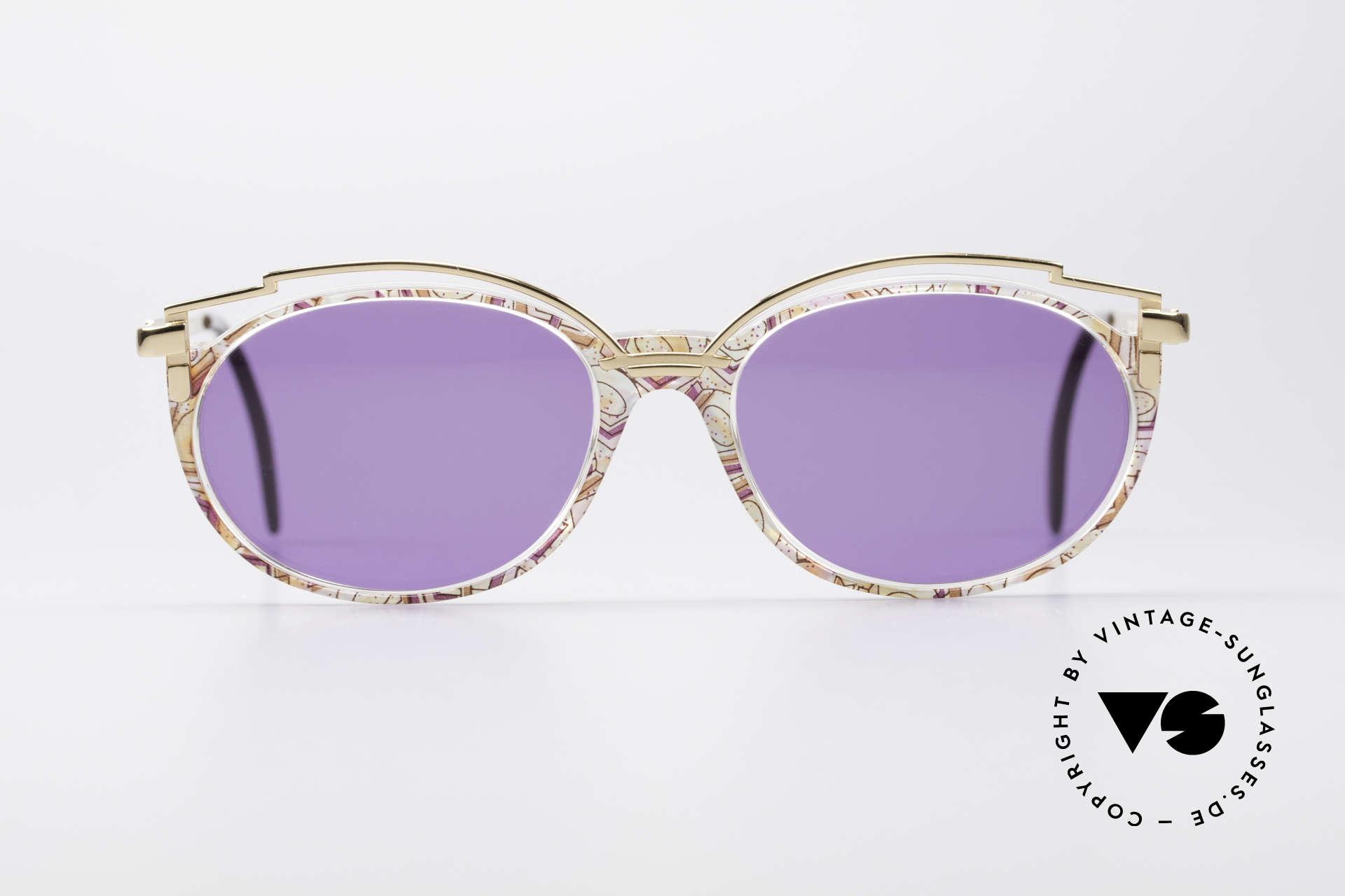 Cazal 358 Rare 90er Vintage Sonnenbrille, elegante Verzierung oberhalb des Kunststoff-Rahmens, Passend für Damen