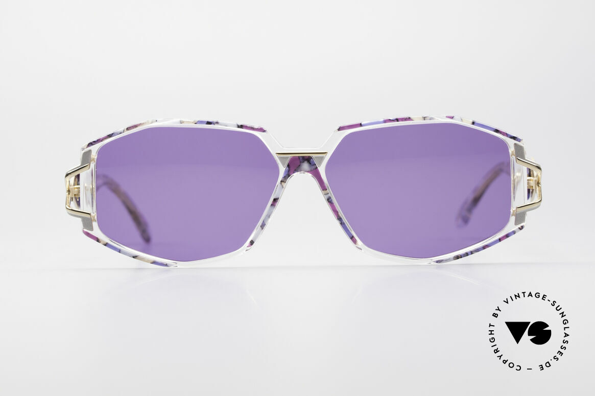 Cazal 368 90er Sonnenbrille Hip Hop Style, tolle Gestaltung der Bügelgelenke & Rahmenmuster, Passend für Damen