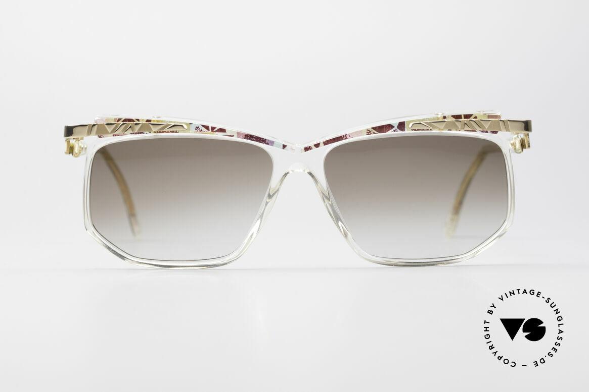 Cazal 366 Vintage 90er Hip Hop Brille, kristallklarer Rahmen mit Muster in rubin-mint-gold, Passend für Herren und Damen