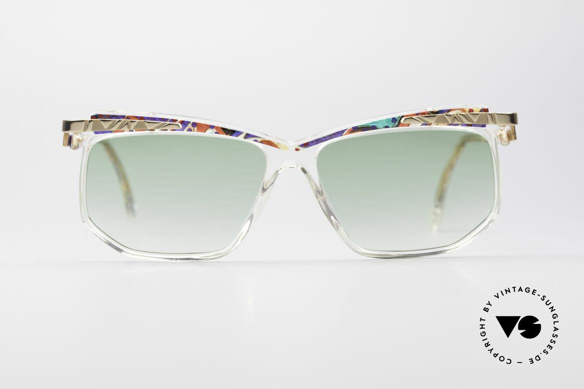 Cazal 366 Vintage Sonnenbrille Hip Hop, kristallklarer Rahmen mit farbenfrohem Muster, Passend für Herren und Damen
