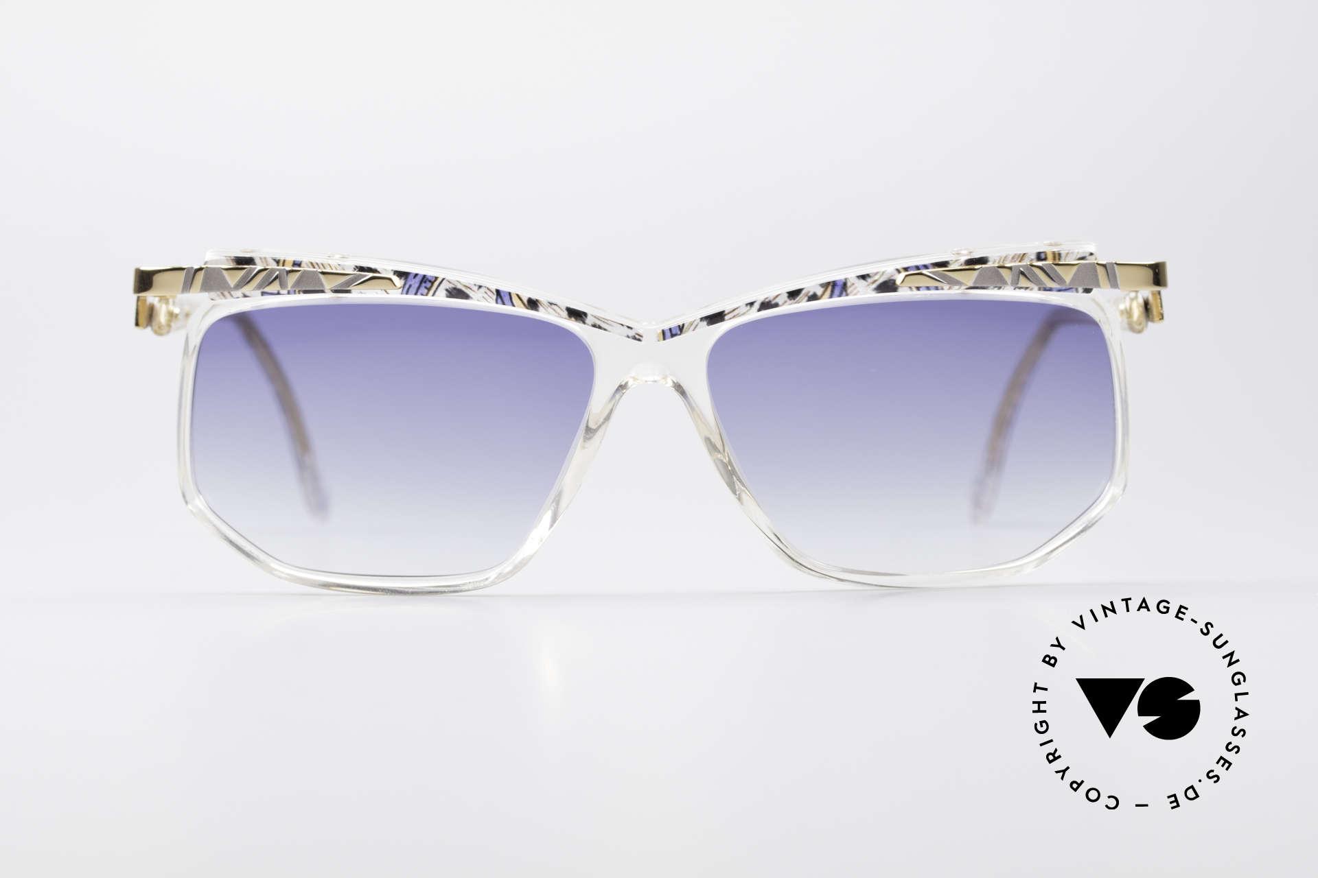 Cazal 366 Vintage Crystal Fassung 90er, kristallklarer Rahmen: Muster in azur/mais/schwarz, Passend für Herren und Damen