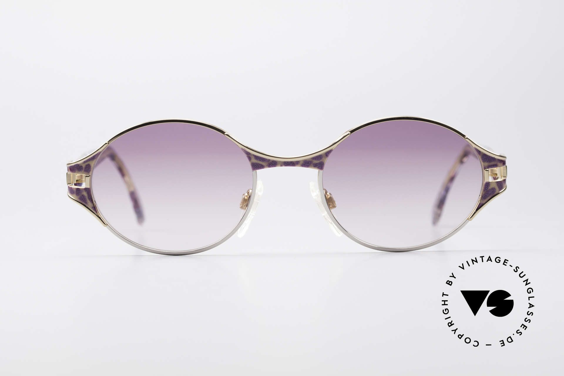 Cazal 281 Ovale Vintage Sonnnenbrille, aufwändige Rahmengestaltung in Farbe und Form, Passend für Damen