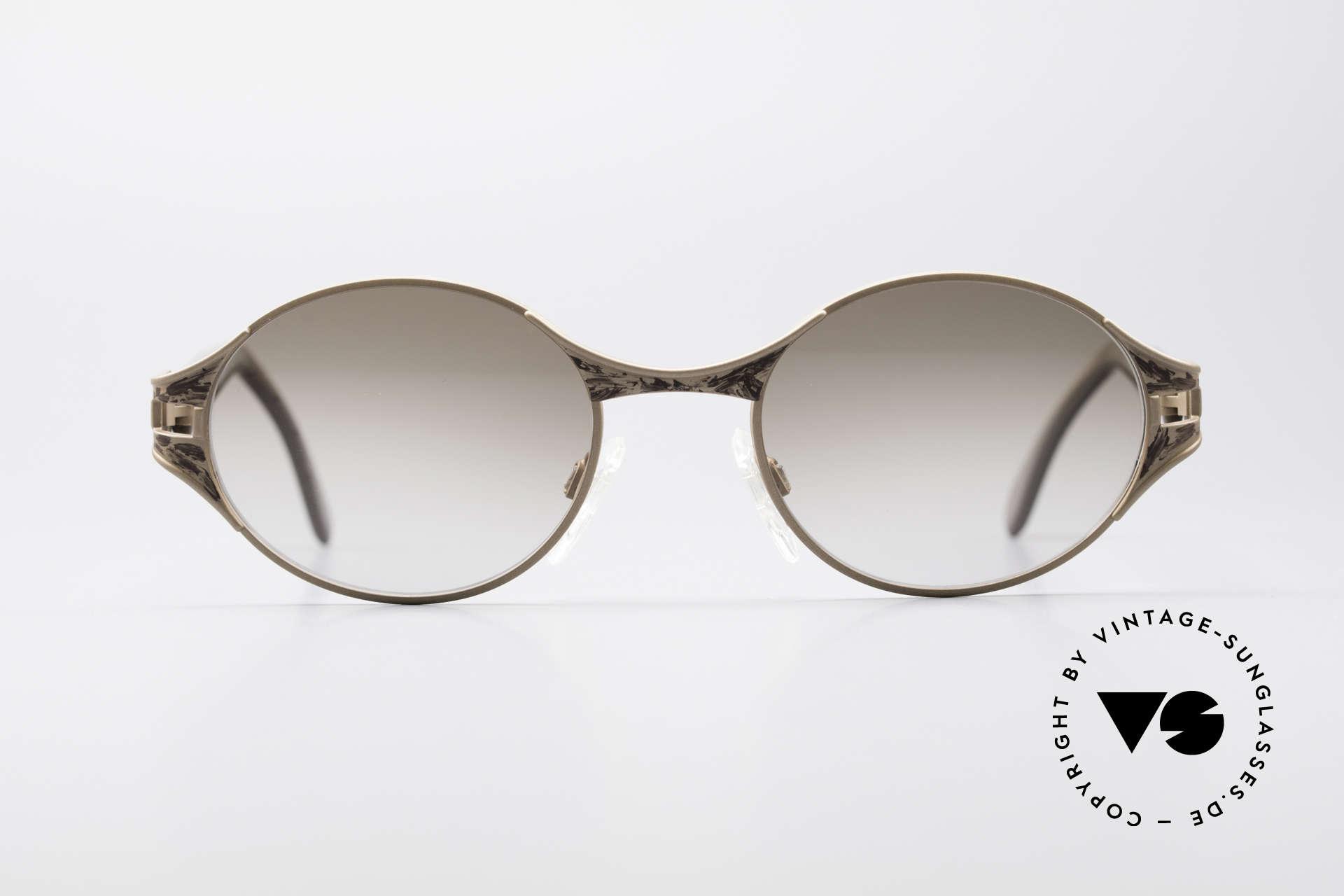 Cazal 281 90er Damen Sonnenbrille Oval, aufwändige Rahmengestaltung in Farbe und Form, Passend für Damen