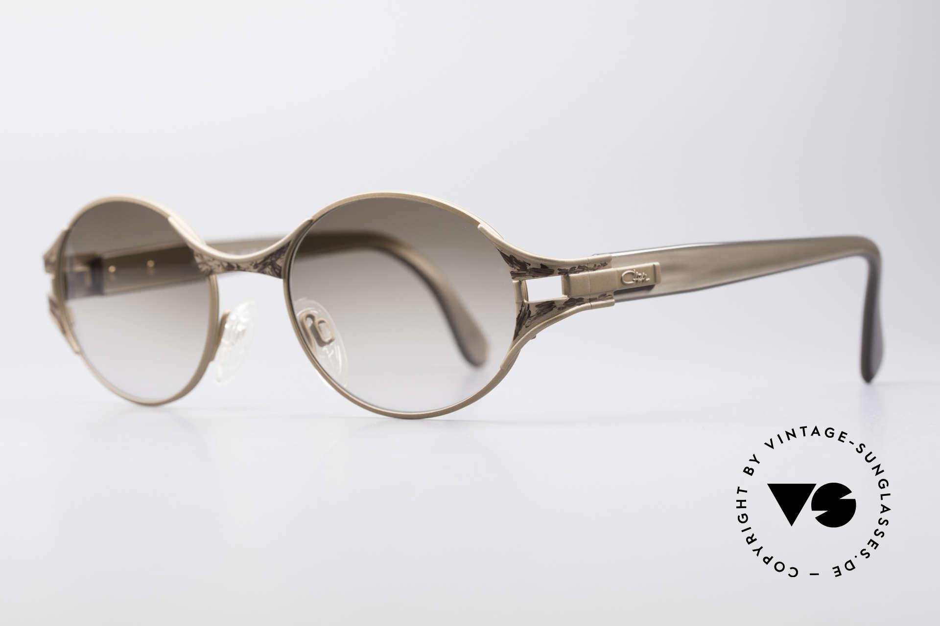 Cazal 281 90er Damen Sonnenbrille Oval, tolles Zusammenspiel diverser Design-Elemente, Passend für Damen