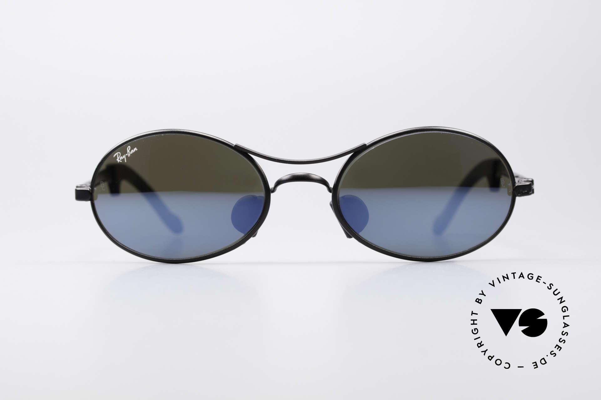 Ray Ban Orbs 9 Base Oval Blue Mirror B&L USA Brille, original vintage USA Sonnenbrille der späten 1990er, Passend für Herren