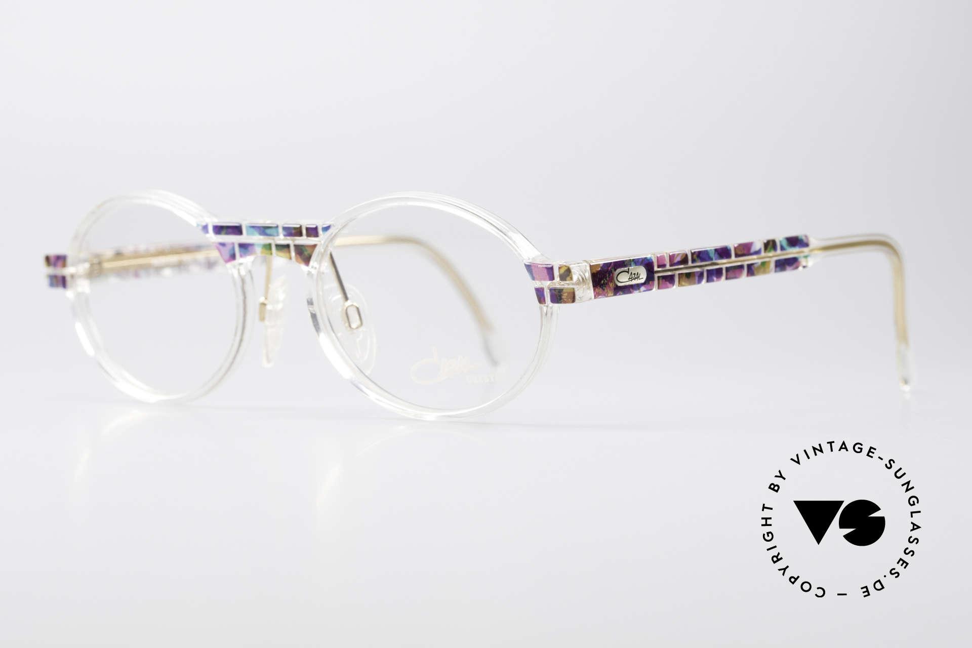 Cazal 510 Crystal Limited Ovale Brille, limitierte Sonder-Edition mit kristallklarem Rahmen, Passend für Herren und Damen