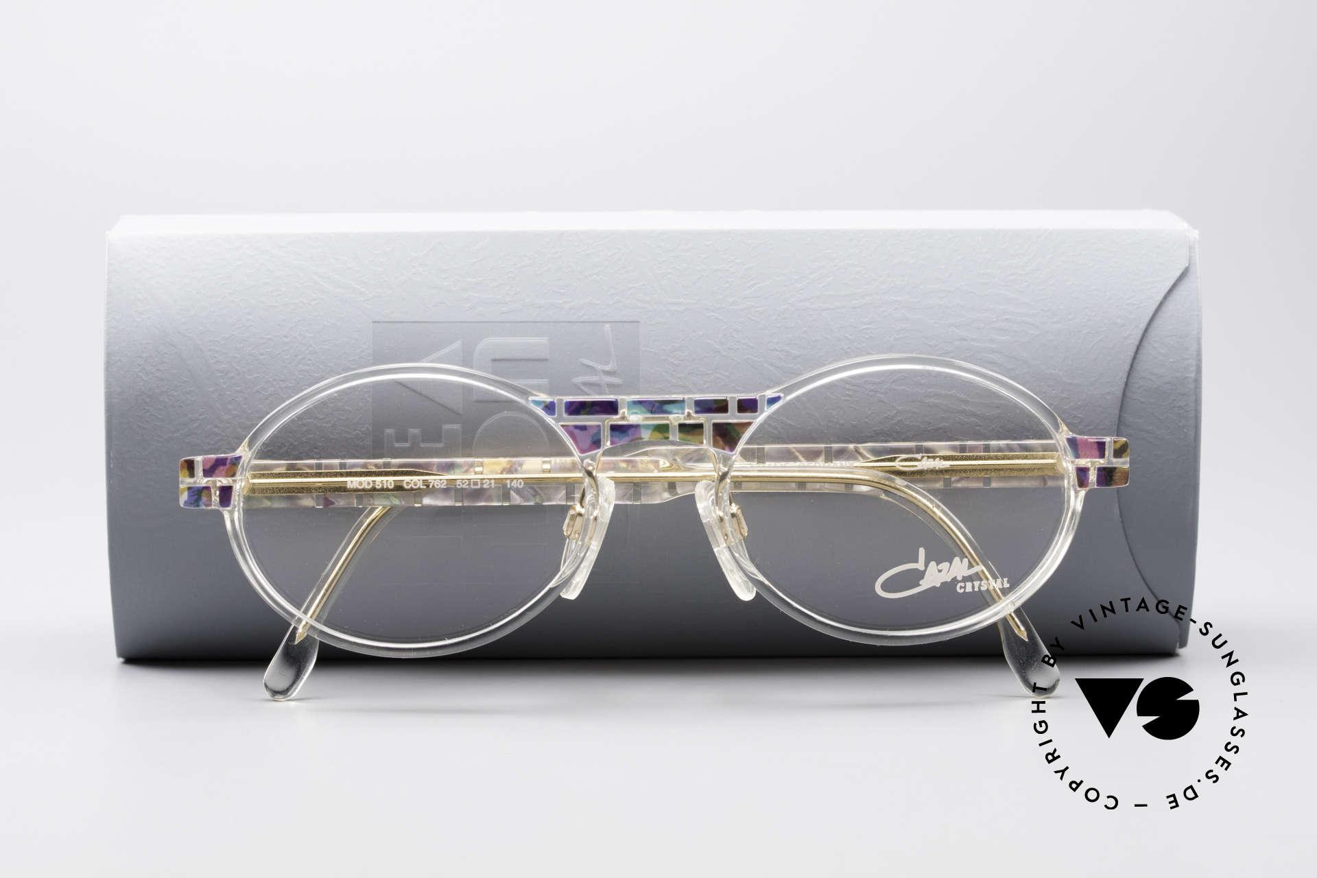 Cazal 510 Crystal Limited Ovale Brille, Demogläser können durch optische ersetzt werden, Passend für Herren und Damen