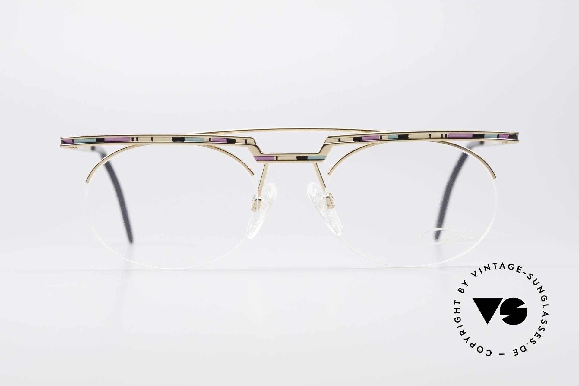 Cazal 758 Original Brille No Retrobrille, tolles geometrisches Spiel (oval und eckig zugleich), Passend für Herren und Damen