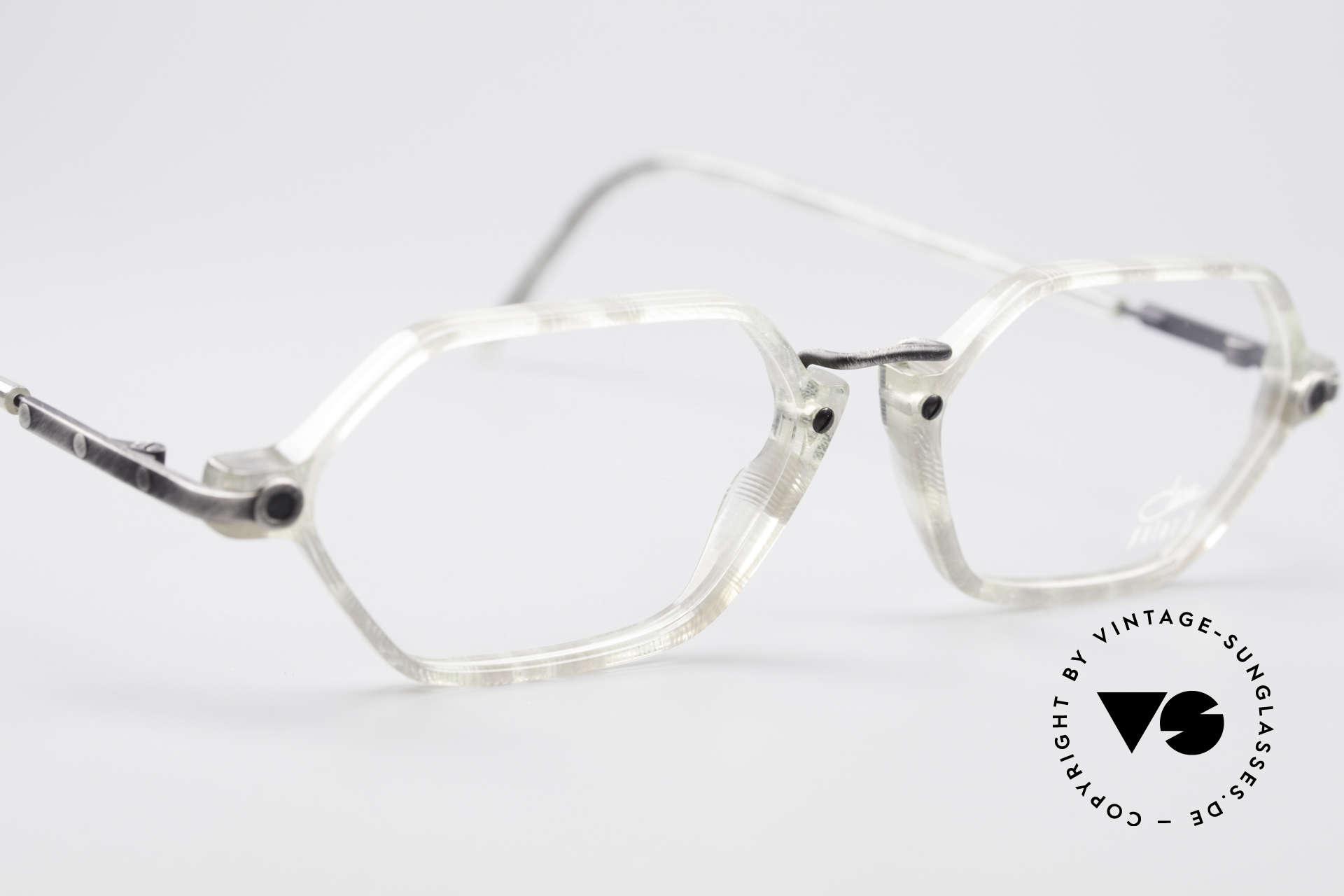 """Cazal 1302 - Point 2 Original 90er Brillenfassung, naturorientierte Farbe in """"echse kristall / antik grau"""", Passend für Herren und Damen"""
