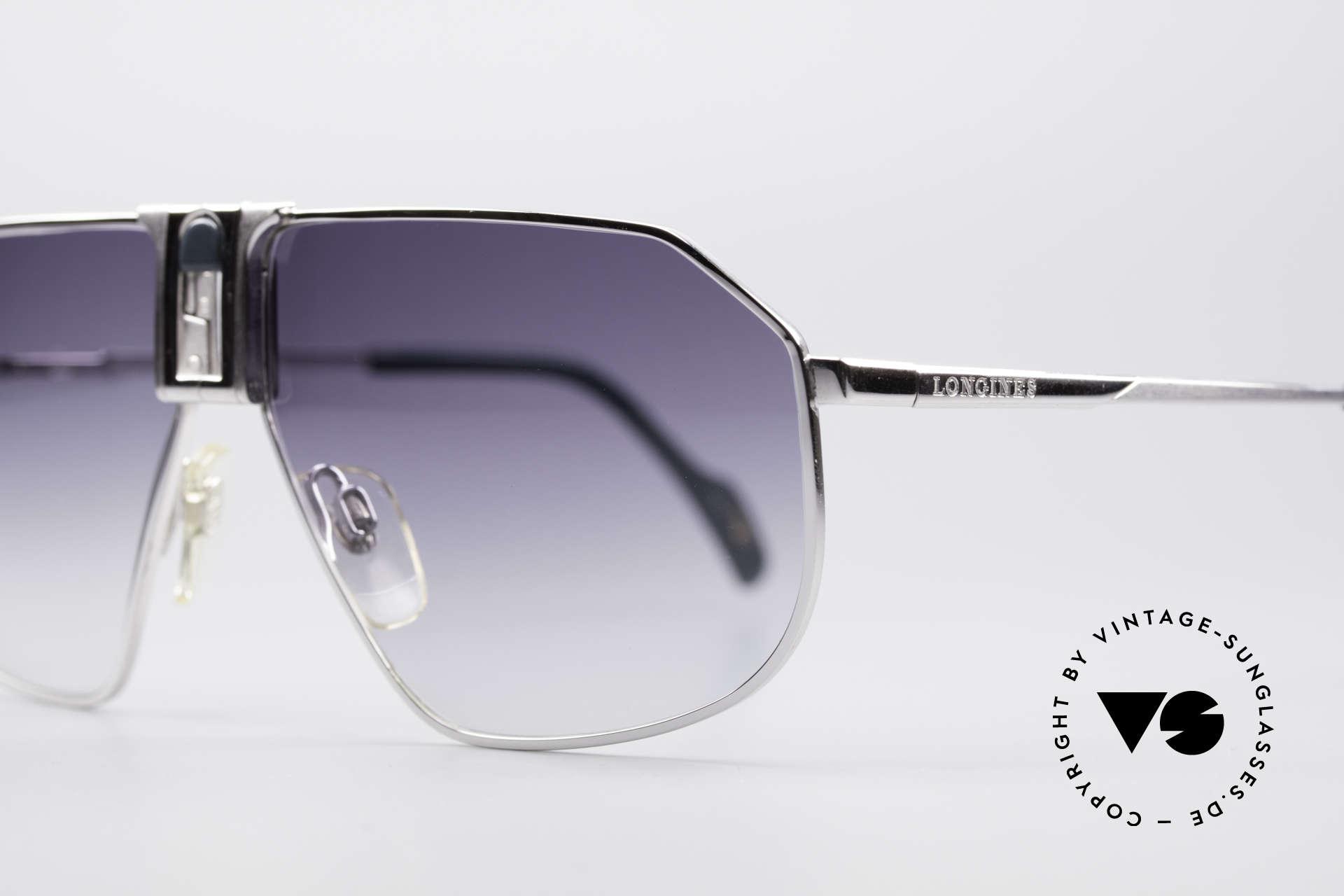 Longines 0153 Large Vintage Sonnenbrille, L-Größe (140mm breit) und mit GENTA Lederetui, Passend für Herren