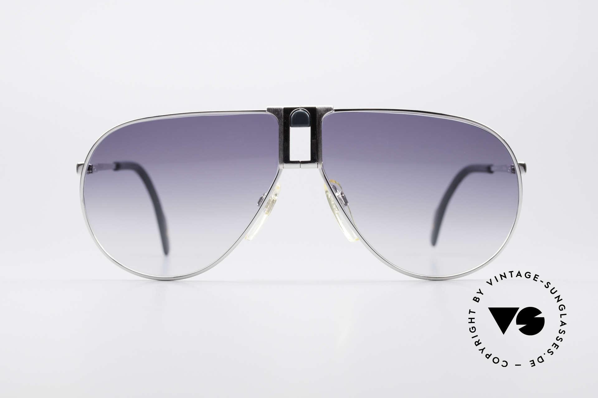 Longines 0154 Large 80er Aviator Sonnenbrille, Large-Größe (138mm breit) & mit GENTA Lederetui, Passend für Herren