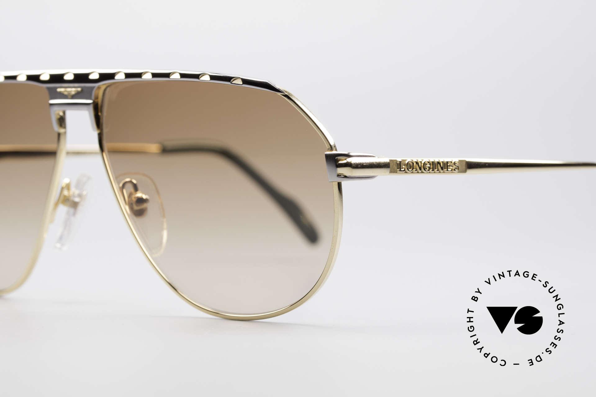 Longines 0151 Large Titanium Sonnenbrille, LARGE Größe 61-13 und mit Lederetui von GENTA, Passend für Herren