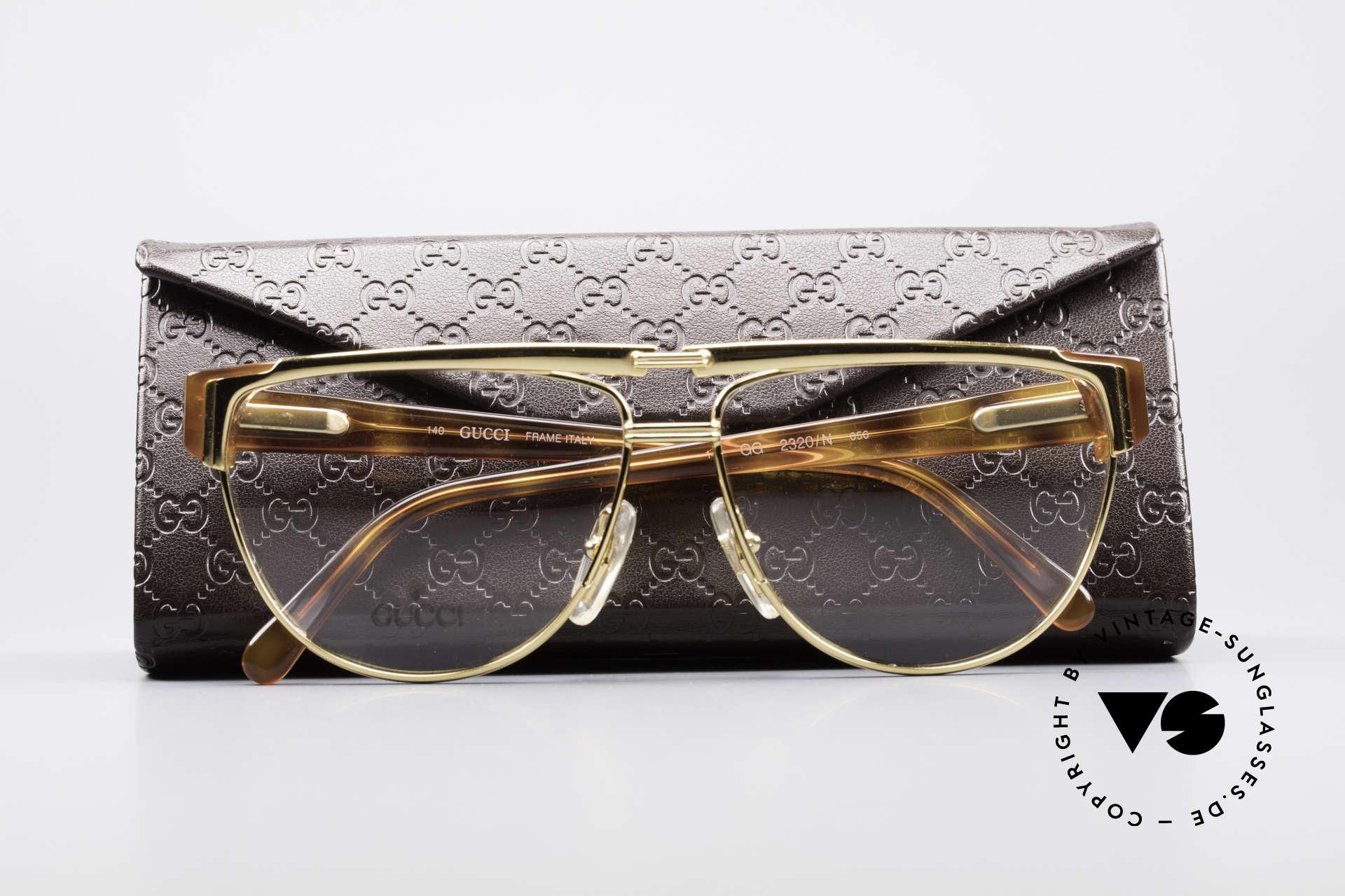 Gucci 2320 Designer Luxusbrille 80er, die Fassung ist beliebig verglasbar (optisch / Sonne), Passend für Herren und Damen