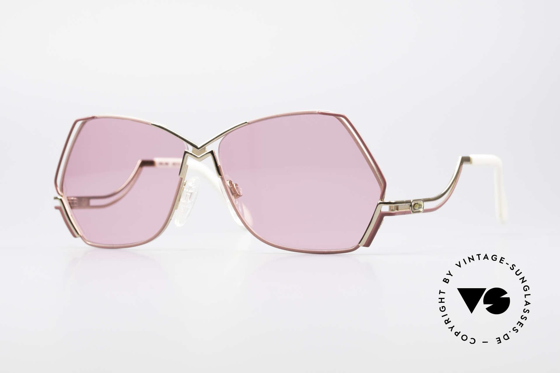 Cazal 226 Pinke Sonnenbrille Damen, außergewöhnliche, fünfeckige CAZAL Designerbrille, Passend für Damen