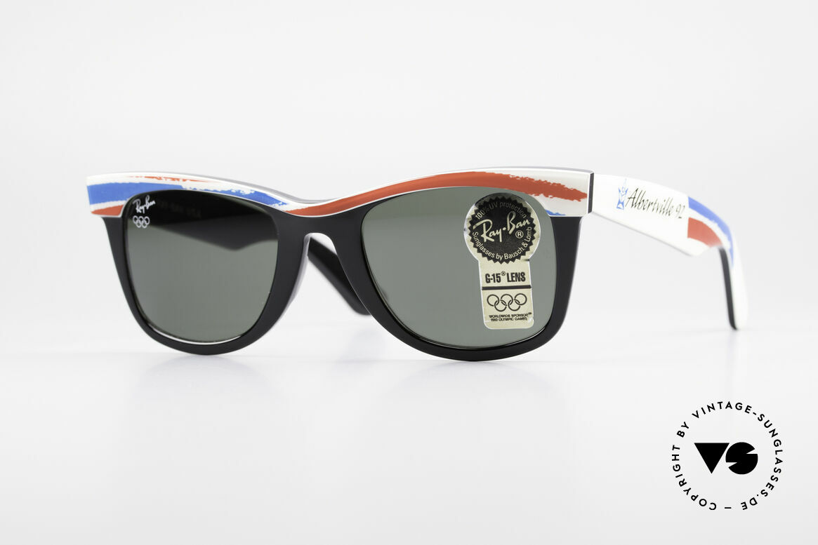 Ray Ban Wayfarer I Olympia 1992 Albertville, limitierte B&L USA vintage Wayfarer Sonnenbrille, Passend für Herren und Damen