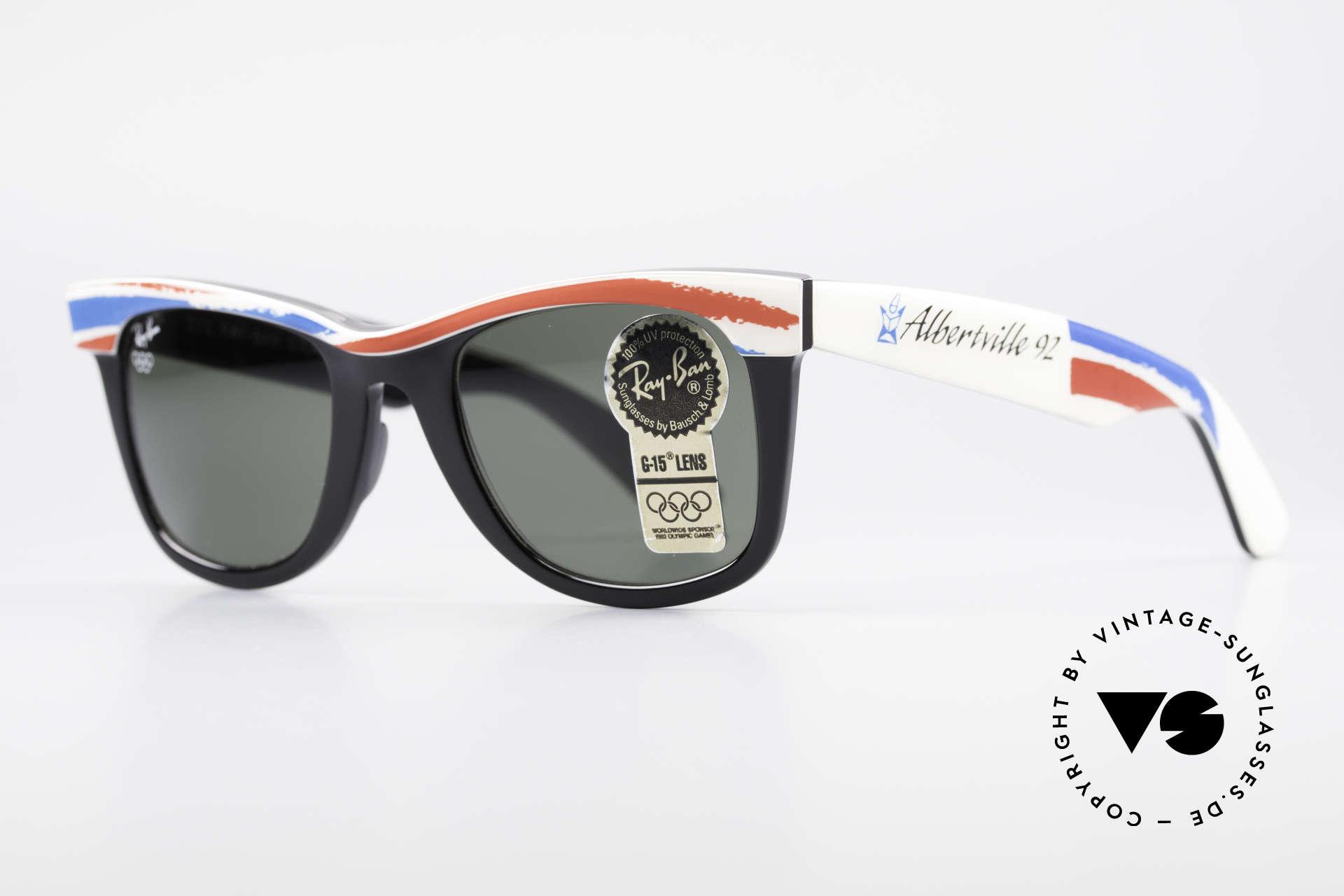 Ray Ban Wayfarer I Olympia 1992 Albertville, Bausch & Lomb Qualitätsgläser (100% UV-Schutz), Passend für Herren und Damen