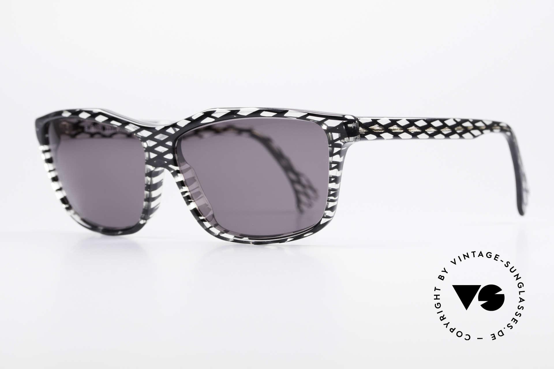 Alain Mikli 701 / 280 Gemusterte 80er Sonnenbrille, grau getönte CR39 Sonnengläser (100% UV Protection), Passend für Damen