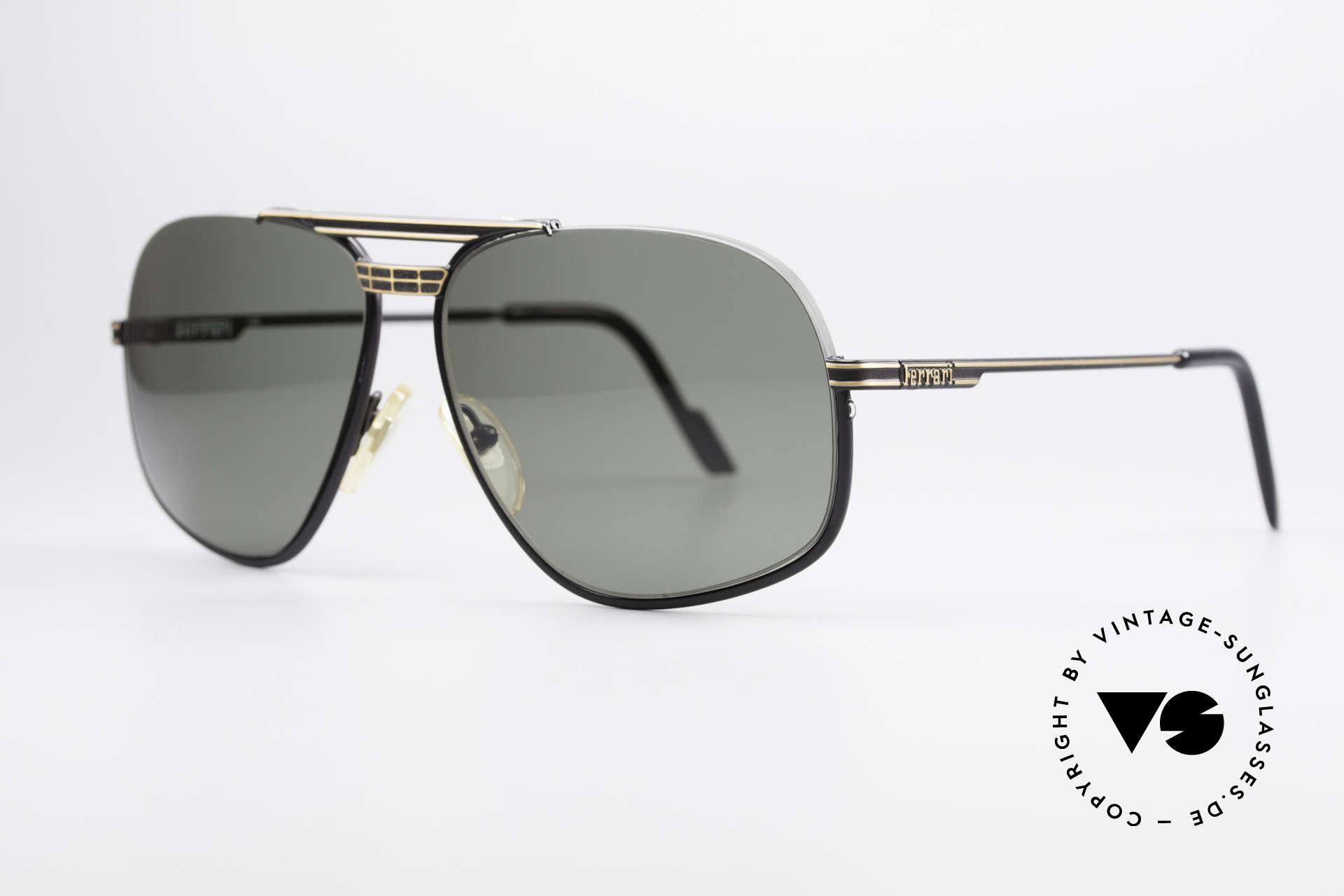 Ferrari F4 - L Rennfahrer Sonnenbrille 80er, halb-rahmenlos (ideale Passform in L Größe 62-14), Passend für Herren