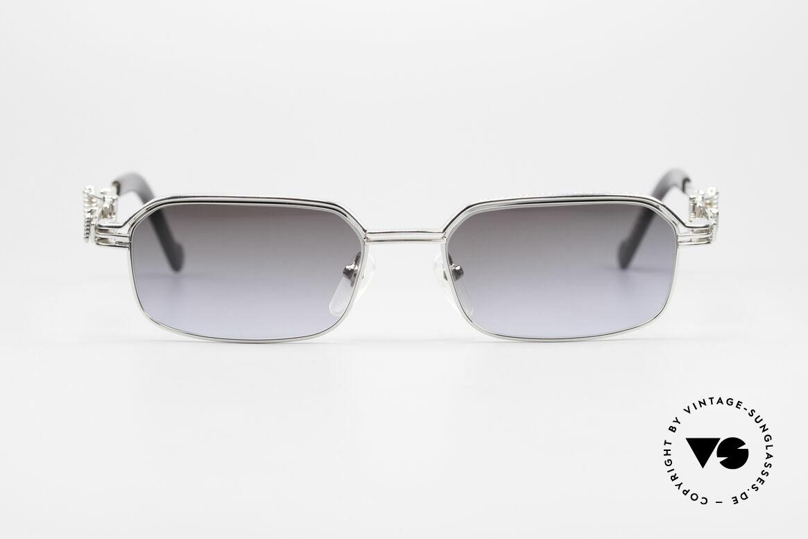 Jean Paul Gaultier 56-0002 Brille mit Gürtelschnalle, herausragende Top-Qualität; rhodinierter Titan-Rahmen, Passend für Herren