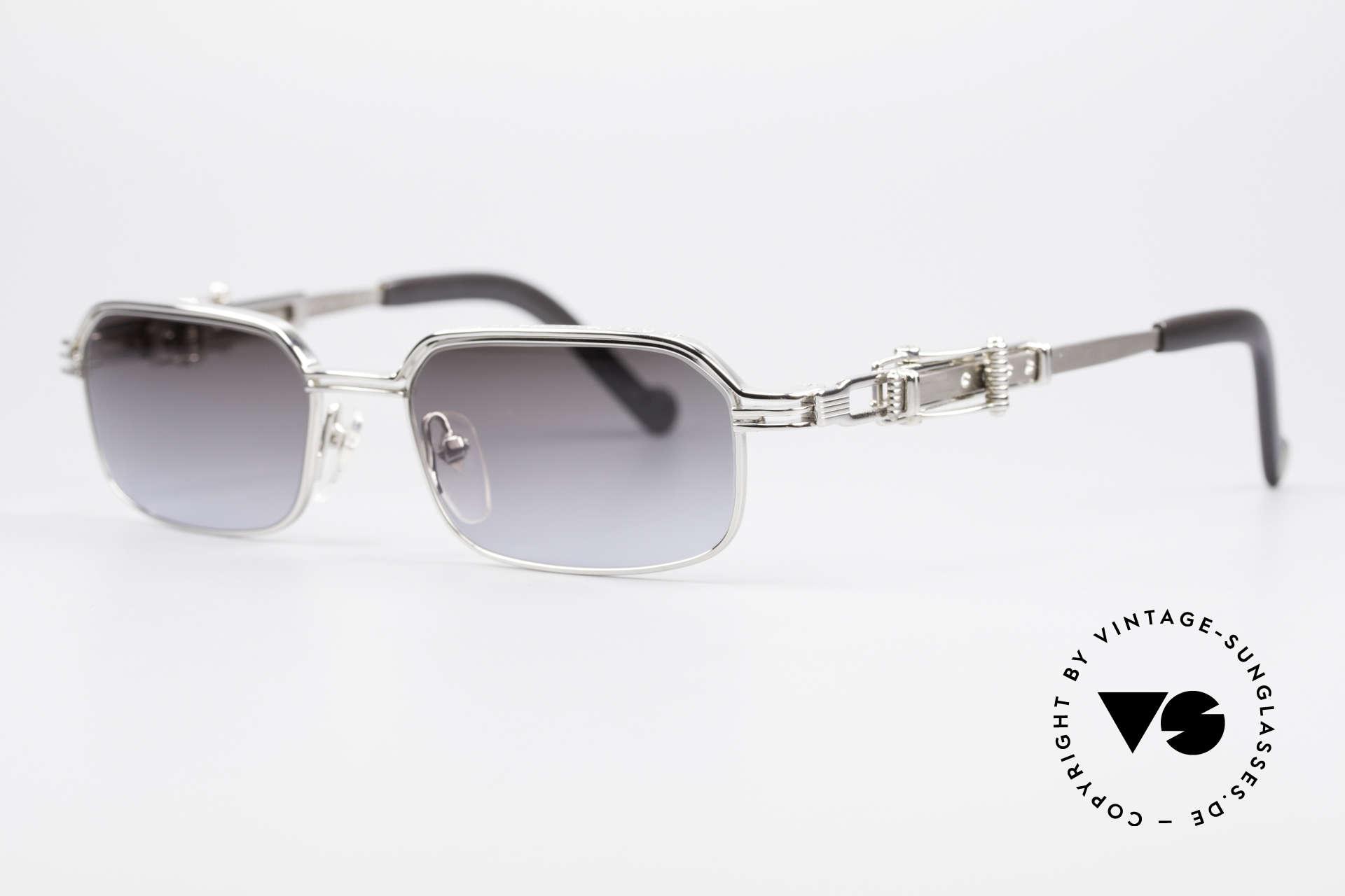 Jean Paul Gaultier 56-0002 Brille mit Gürtelschnalle, typisch Gaultier: Alltagsgegenstände als Design-Details, Passend für Herren