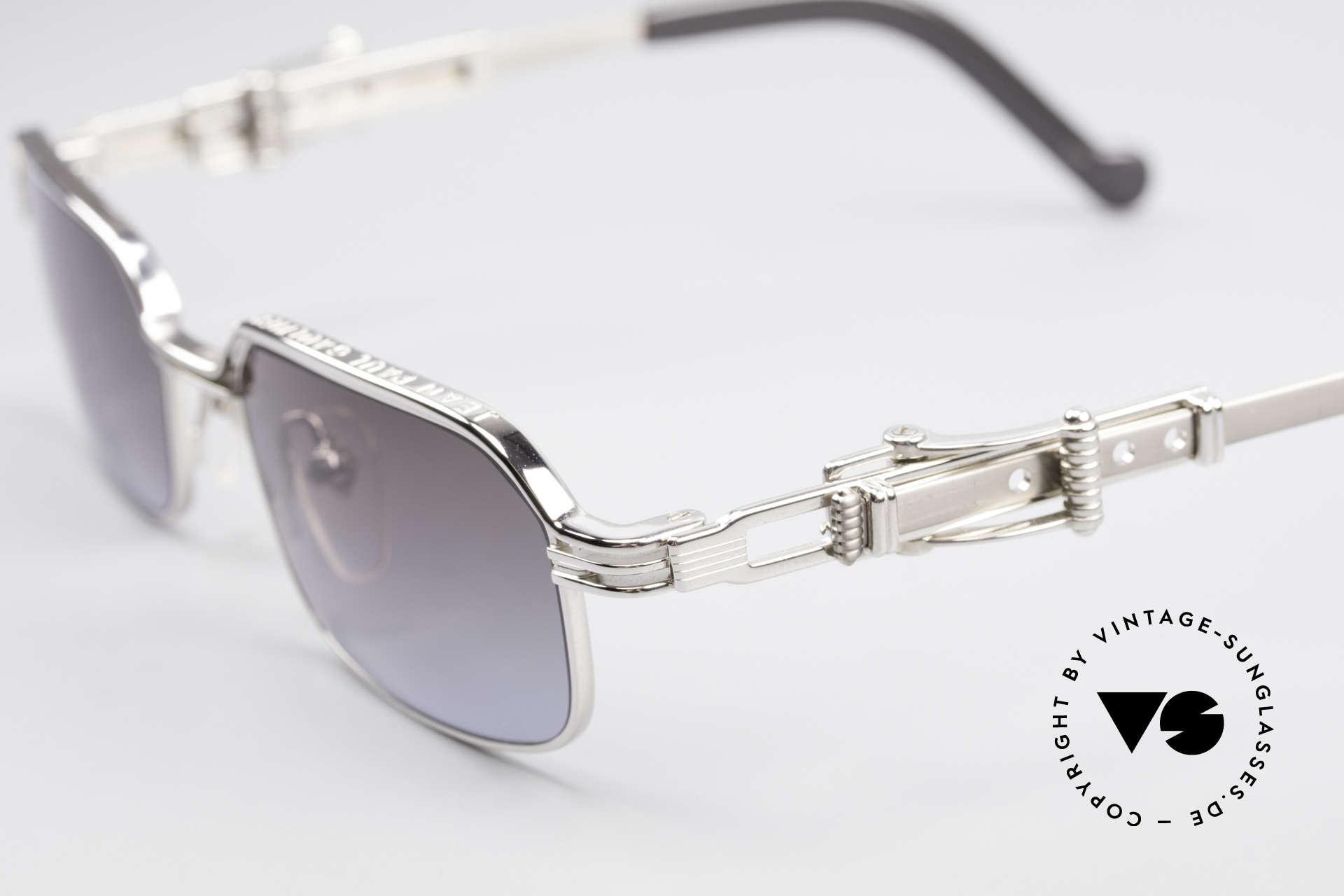 Jean Paul Gaultier 56-0002 Brille mit Gürtelschnalle, verstellbare Bügel in Form einer Gürtelschnalle; genial!, Passend für Herren