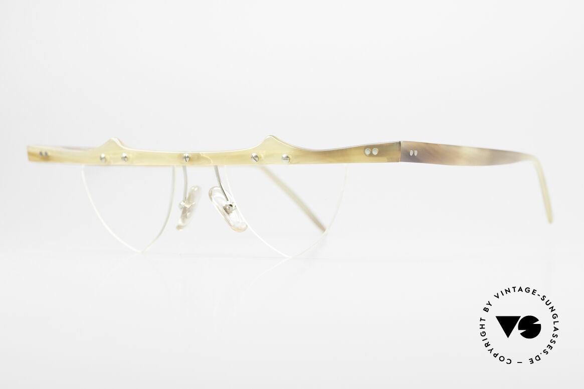 """Theo Belgium Eta 90er Büffelhorn Herzbrille, die 1. Theo Serie """"Balkenbril"""" wurde aus Horn gerfertigt, Passend für Damen"""