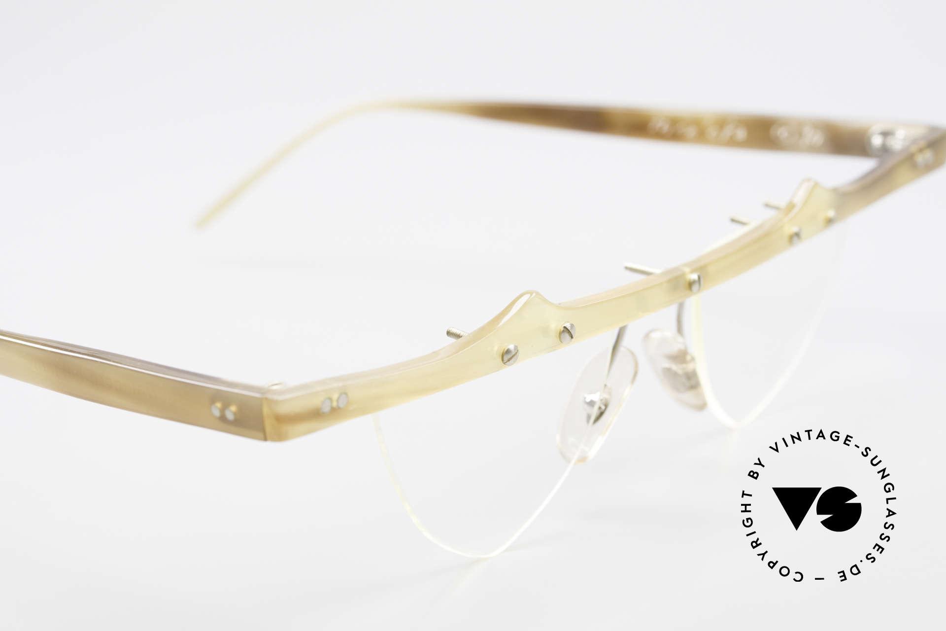 Theo Belgium Eta 90er Büffelhorn Herzbrille, die zauberhaften Demos können natürlich ersetzt werden, Passend für Damen