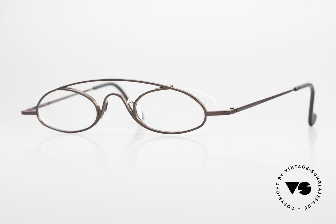 Theo Belgium Hababa Randlose Vollrand Brille Oval, grandiose vintage Theo Belgium Brille von ca. 1997, Passend für Herren und Damen