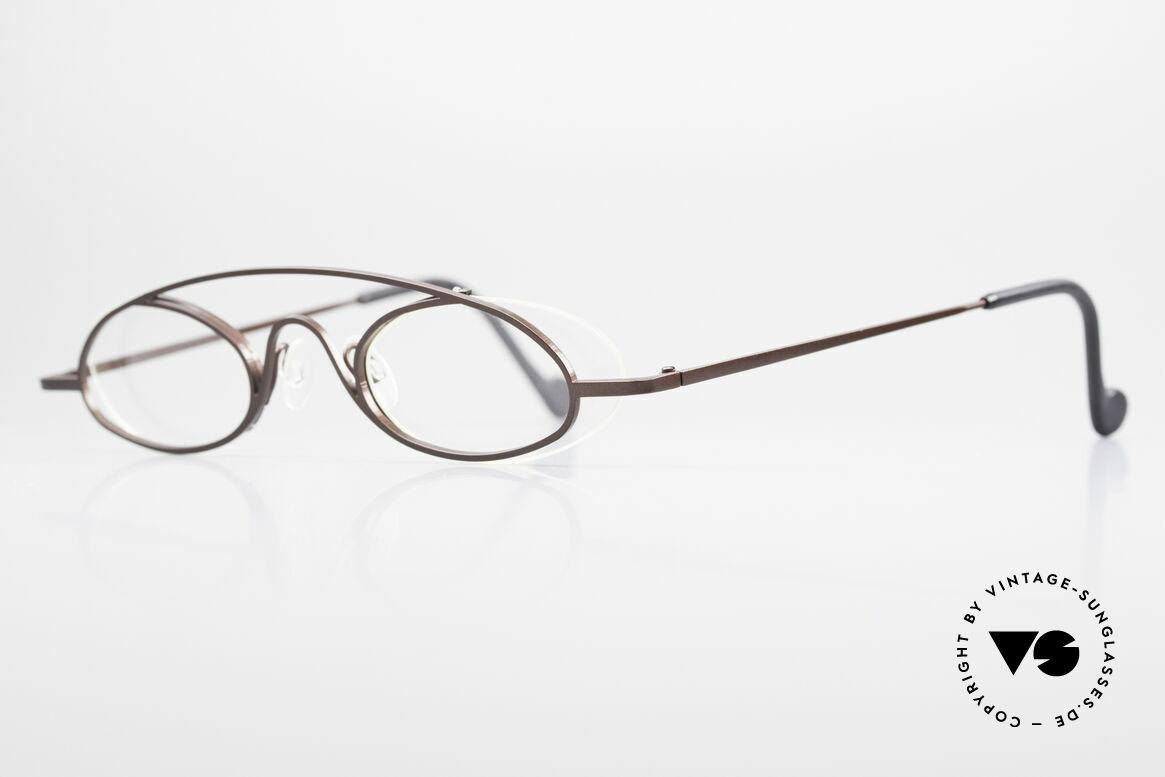 Theo Belgium Hababa Randlose Vollrand Brille Oval, Gläser werden u.a. durch einen Nylor-Faden gehalten, Passend für Herren und Damen