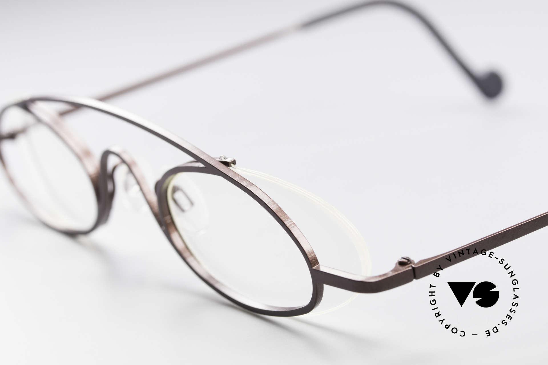 Theo Belgium Hababa Randlose Vollrand Brille Oval, ein wirklich außergewöhnliches THEO Designerstück, Passend für Herren und Damen