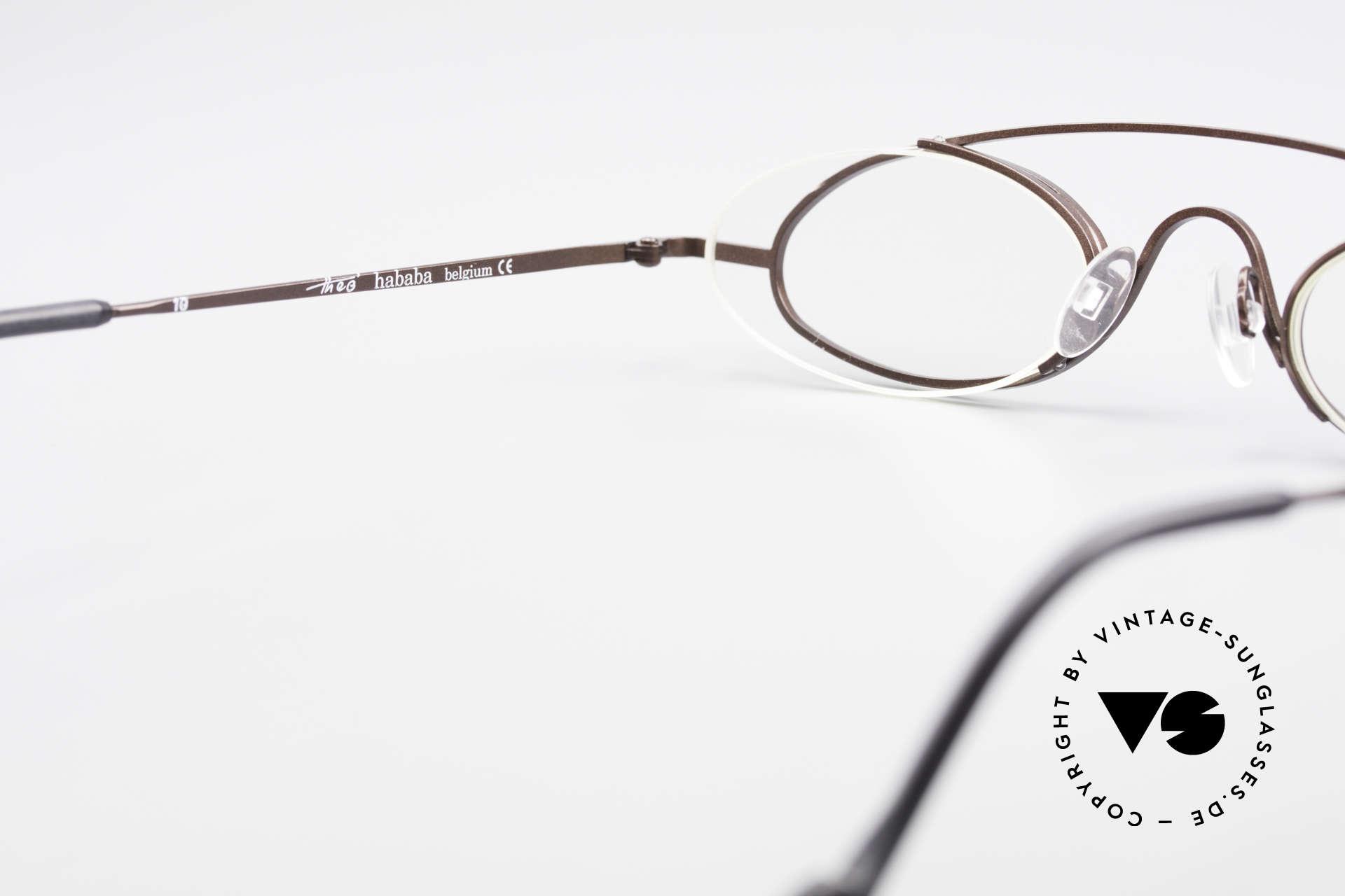 Theo Belgium Hababa Randlose Vollrand Brille Oval, KEINE RETRObrille; ein ca. 20 Jahre altes ORIGINAL, Passend für Herren und Damen