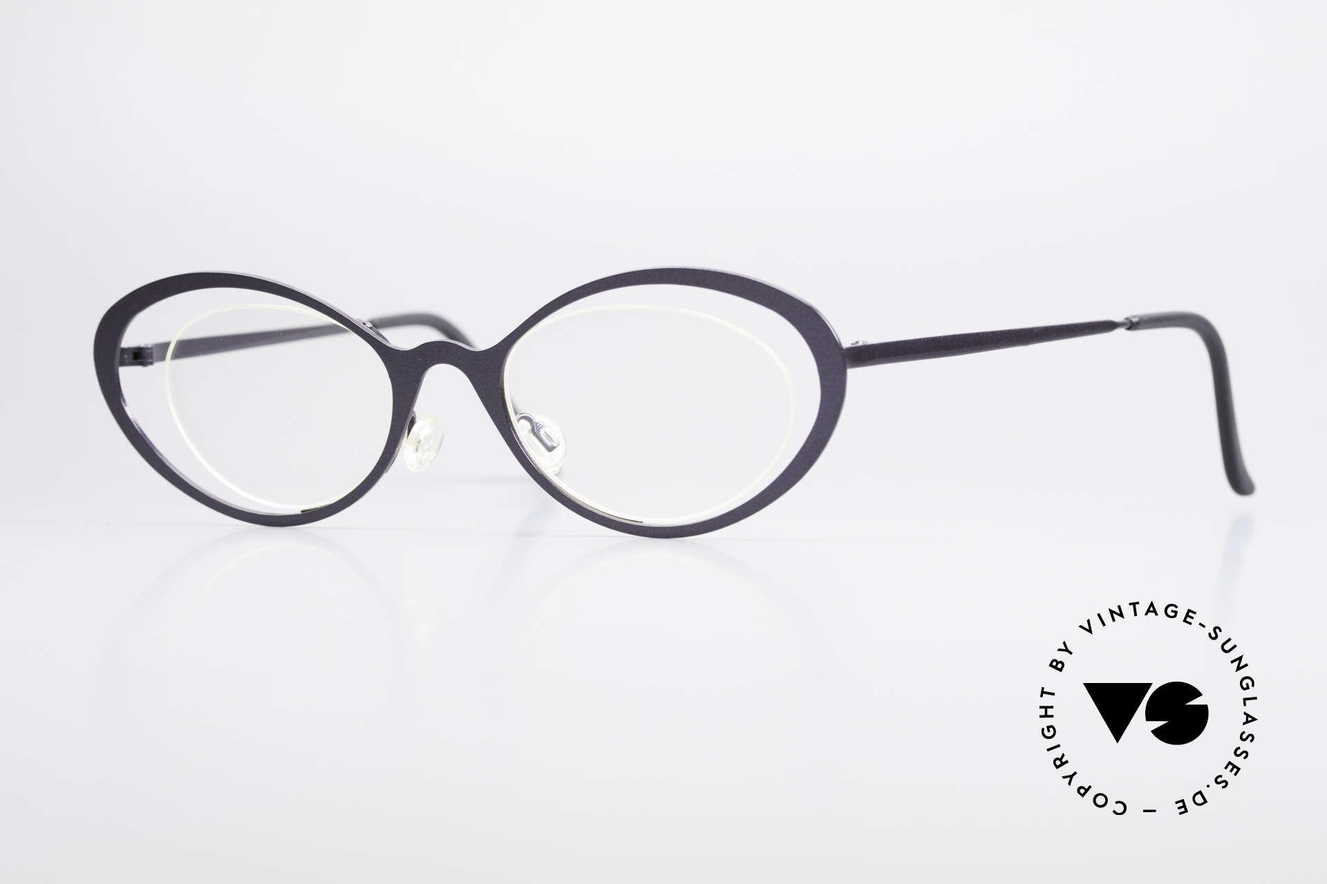 Theo Belgium LuLu Randlose Cateye Brille 90er, grandiose vintage Theo Belgium Brille von ca. 1997, Passend für Damen