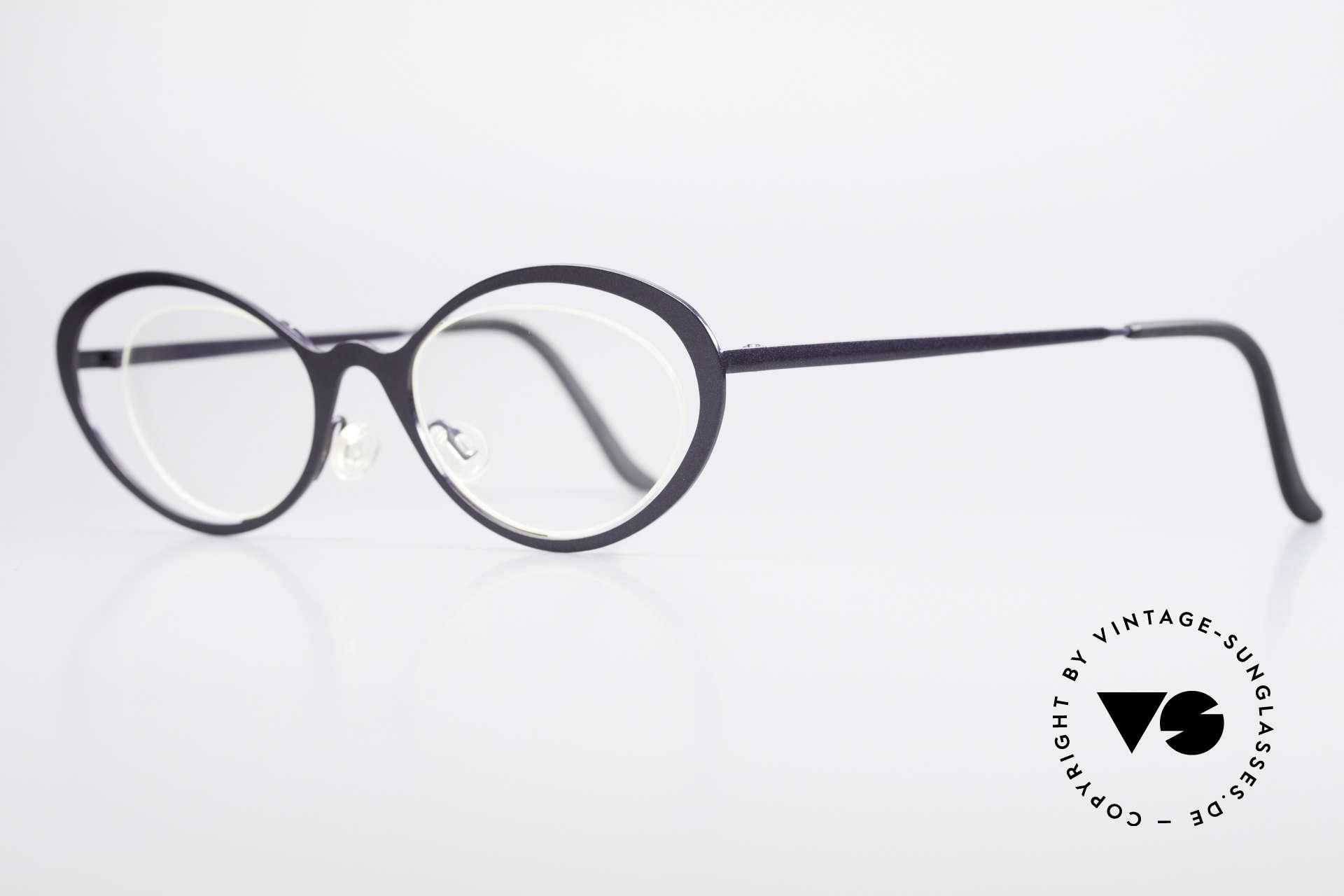 Theo Belgium LuLu Randlose Cateye Brille 90er, Gläser werden u.a. durch einen Nylor-Faden gehalten, Passend für Damen