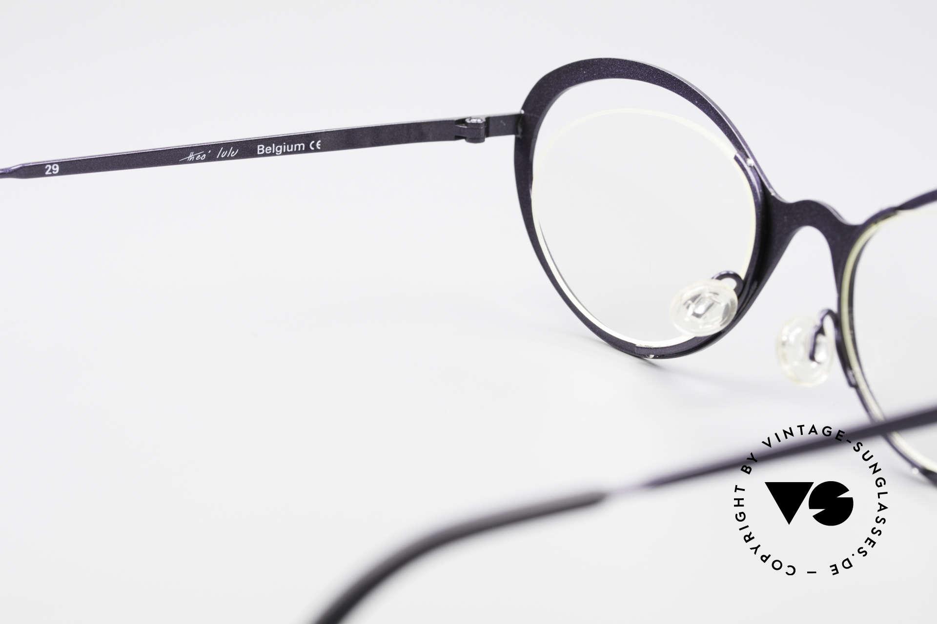 Theo Belgium LuLu Randlose Cateye Brille 90er, KEINE RETRObrille; ein ca. 20 Jahre altes ORIGINAL, Passend für Damen
