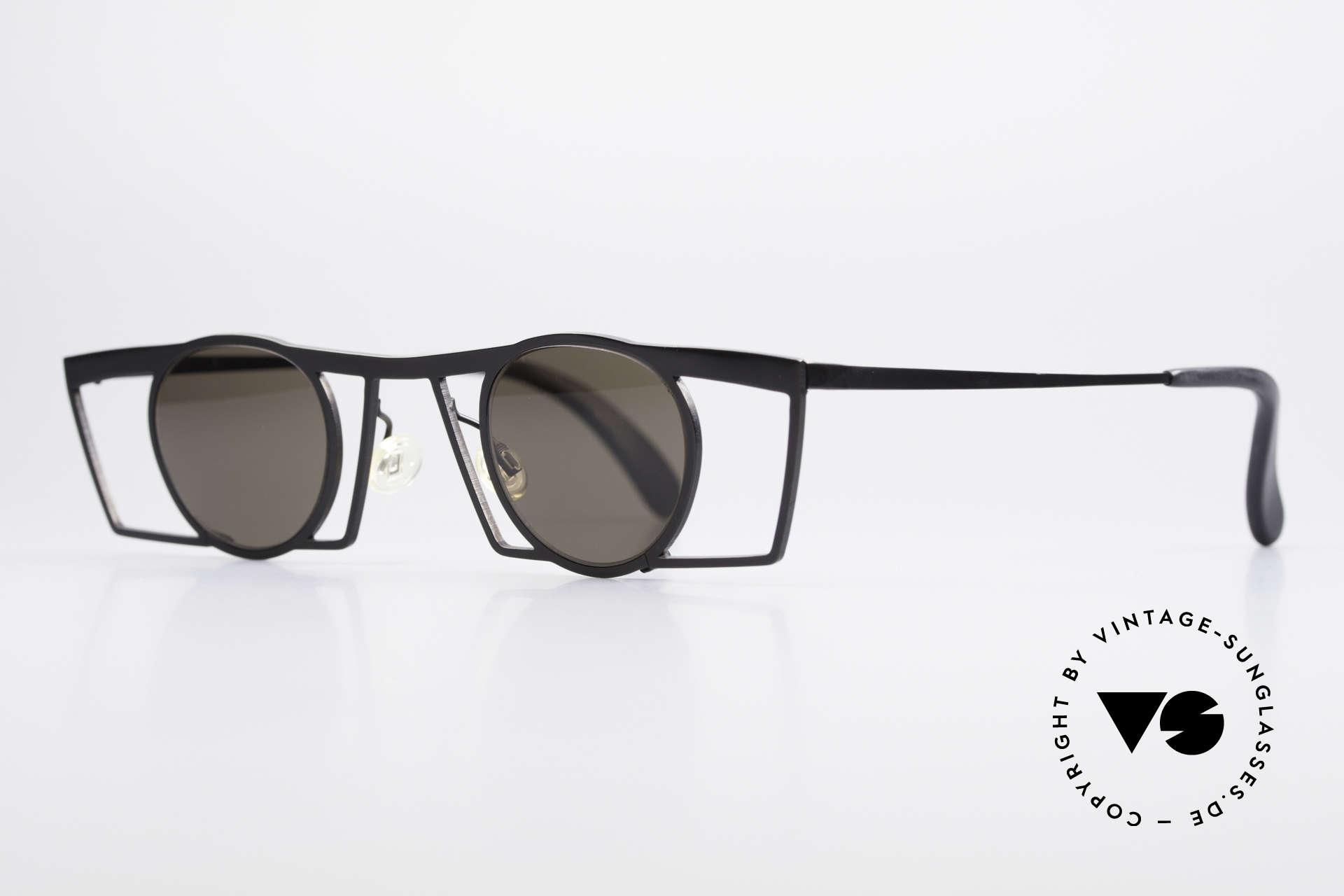 Theo Belgium Jupiter Eckige Designer Sonnenbrille, damals gemacht für die 'Avantgarde' und Individualisten, Passend für Herren und Damen