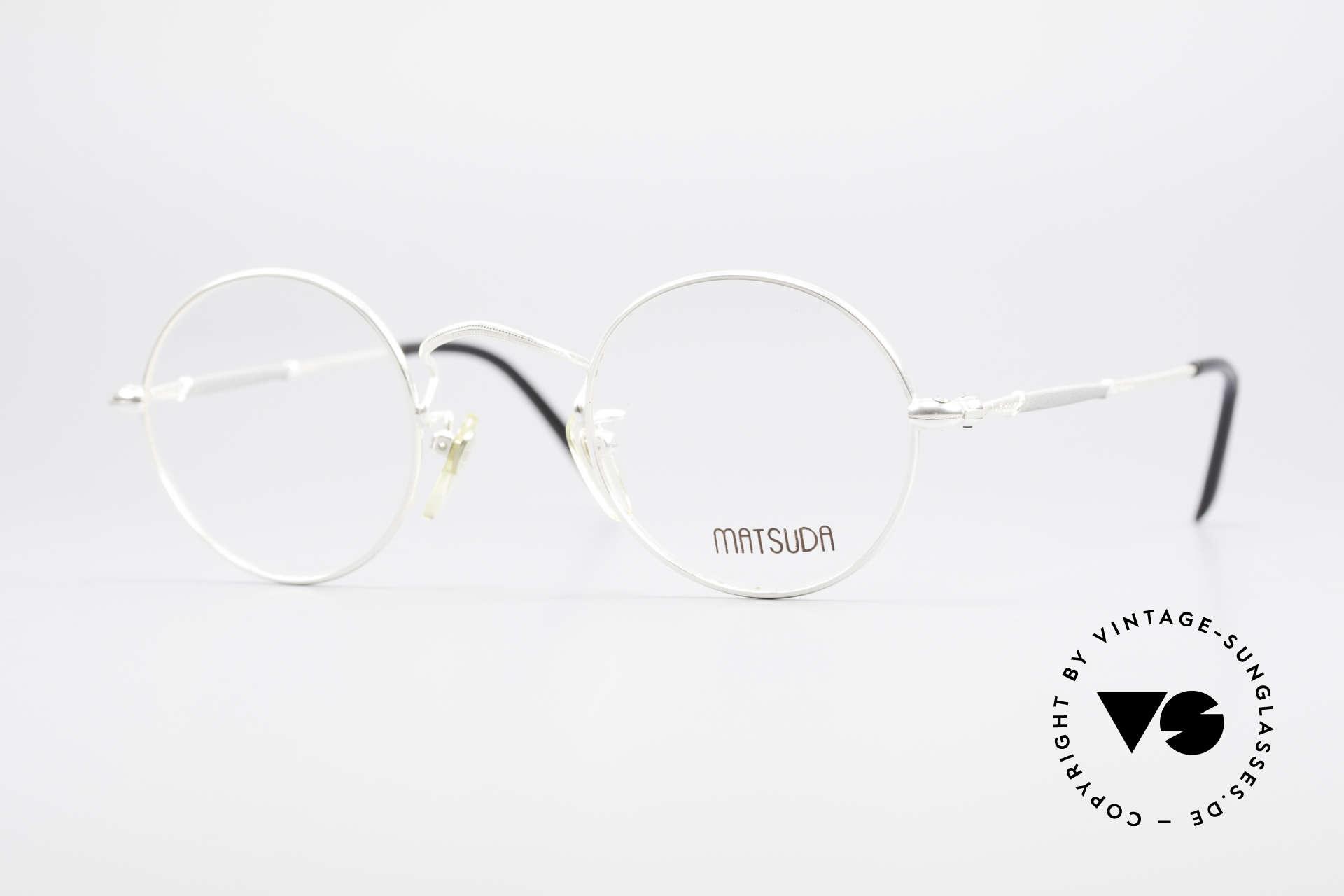 Matsuda 2872 90er Designer Brille Rund, runde 1990er vintage MATSUDA Designer-Brillenfassung, Passend für Herren und Damen