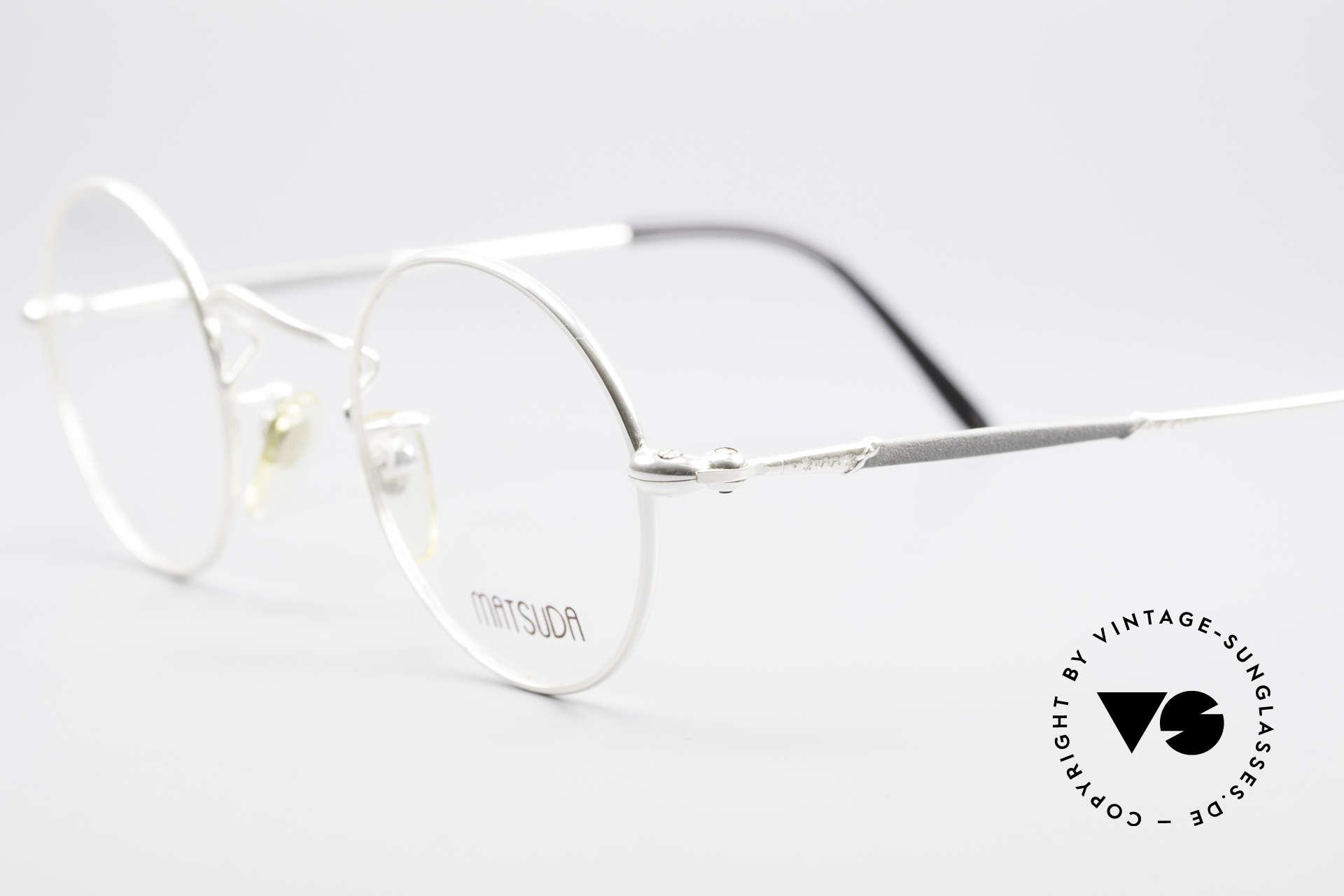 Matsuda 2872 90er Designer Brille Rund, subtile Design-Elemente zieren den Rahmen, Gr. 44/24, Passend für Herren und Damen