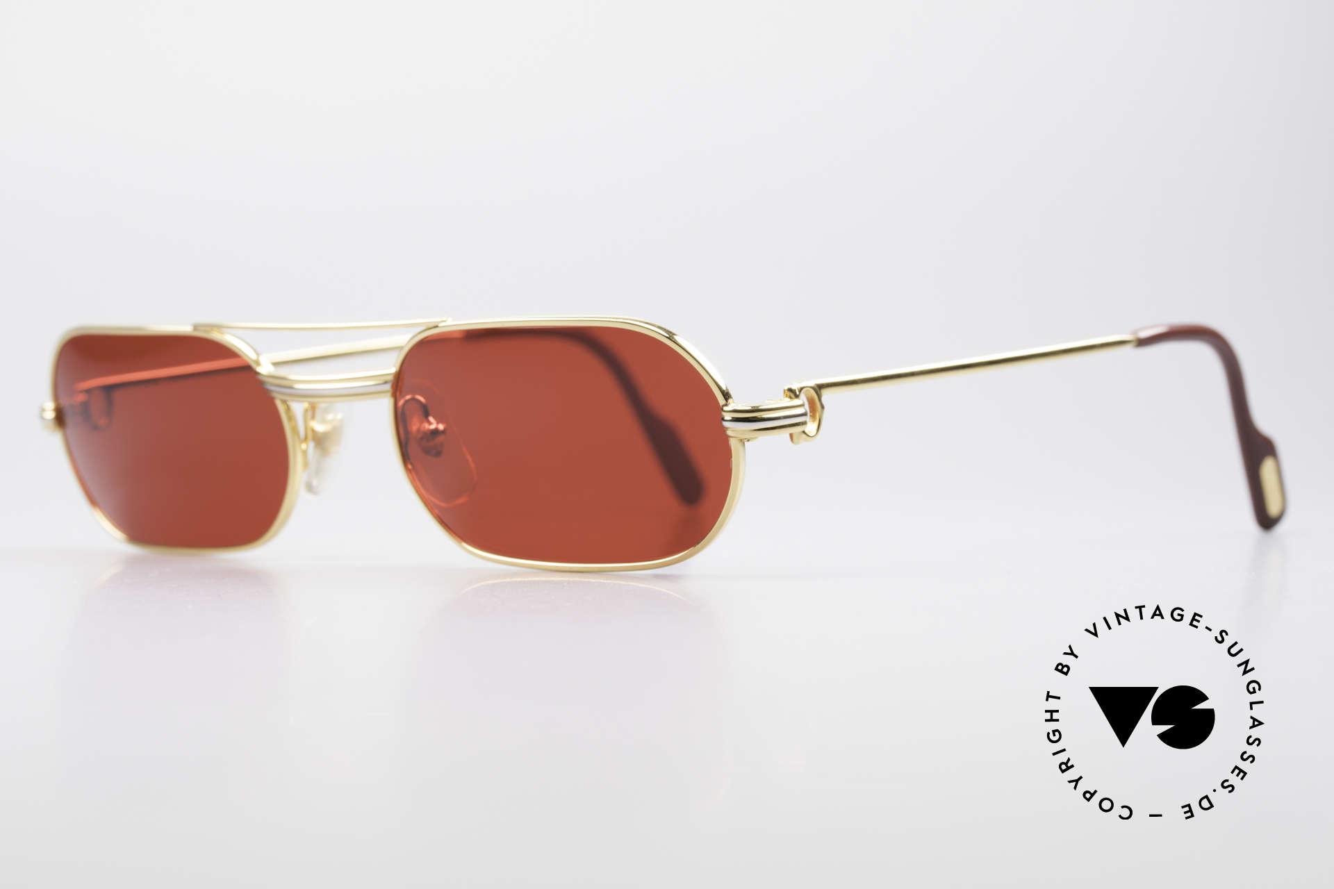 Cartier MUST LC - M 3D Rot Luxus Sonnenbrille, 22kt vergoldet (wie alle alten Cartier Luxus-Brillen), Passend für Herren