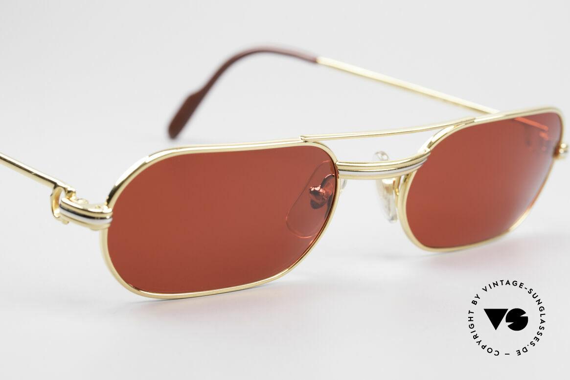 """Cartier MUST LC - M 3D Rot Luxus Sonnenbrille, neue CR39-Kunststoff-Gläser in knalligem """"3D-rot"""", Passend für Herren"""
