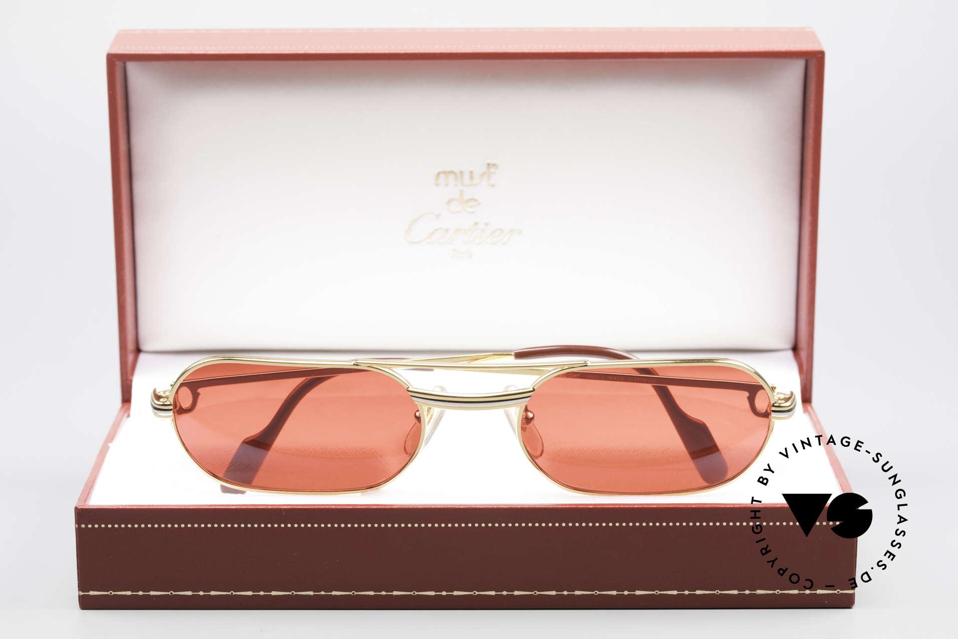 """Cartier MUST LC - M 3D Rot Luxus Sonnenbrille, die """"Spass-Gläser"""" können beliebig ersetzt werden!, Passend für Herren"""