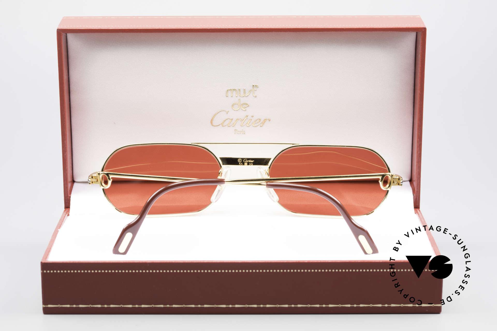 Cartier MUST LC - M 3D Rot Luxus Sonnenbrille, ungetragen mit OVP (in diesem Zustand sehr selten), Passend für Herren