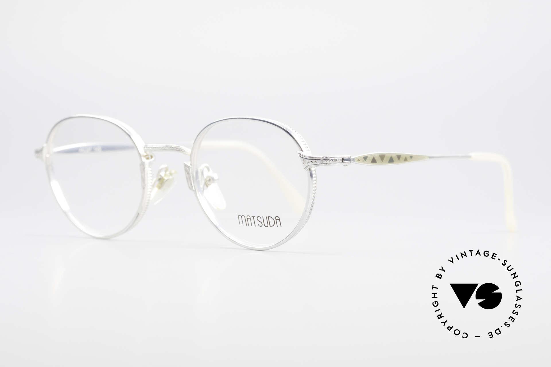 Matsuda 2858 Runde Vintage Designer Brille, Rahmen mit viel Liebe zum Detail; aufwändige Gravuren, Passend für Herren und Damen