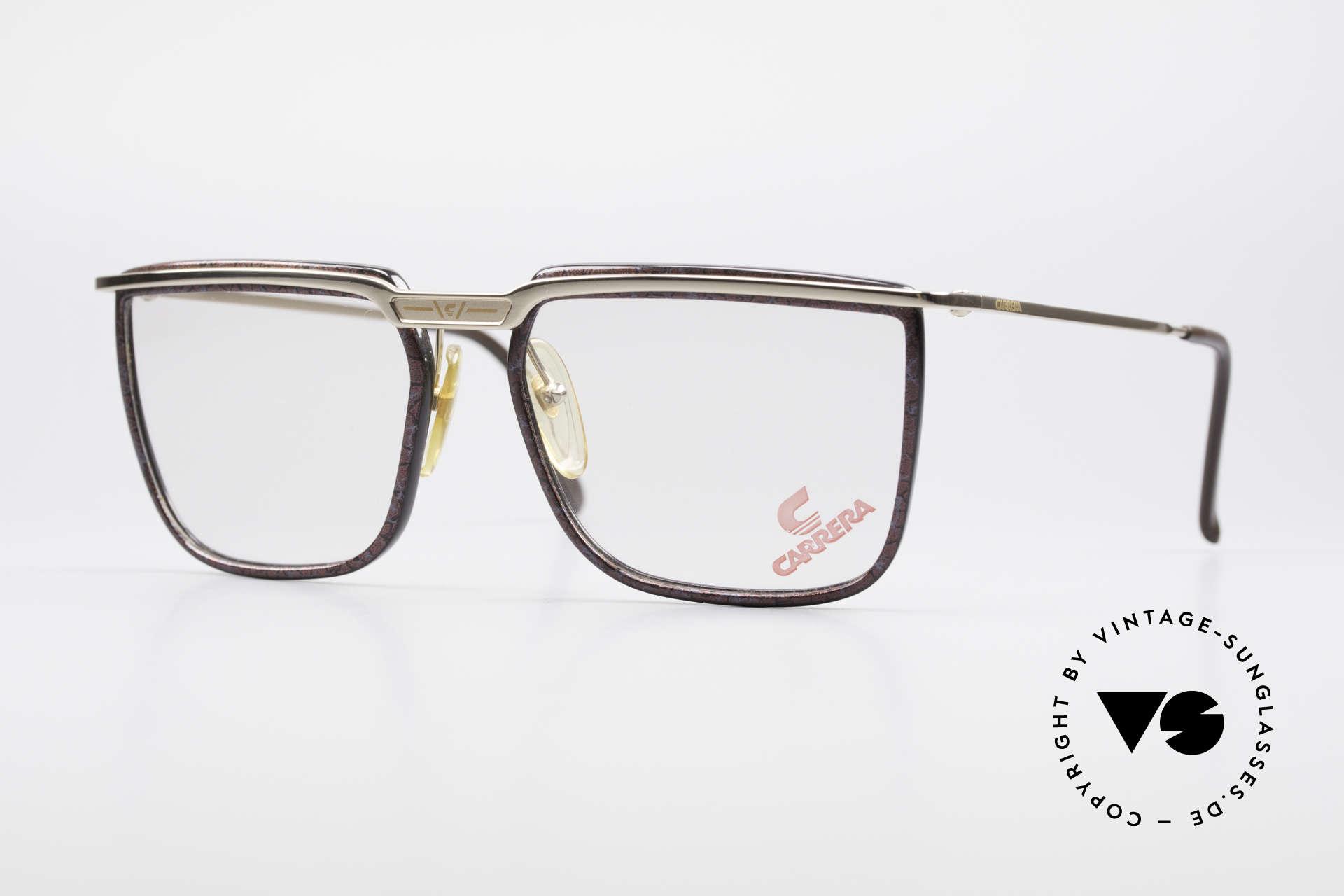 Carrera 5376 Eckige Vintage Brille Carbon, eckige CARRERA vintage Brille aus den 90er Jahren, Passend für Herren
