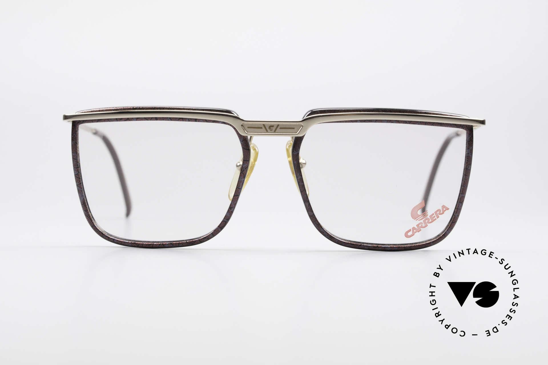 Carrera 5376 Eckige Vintage Brille Carbon, vergoldeter Rahmen mit Glasfassungen aus Karbon, Passend für Herren